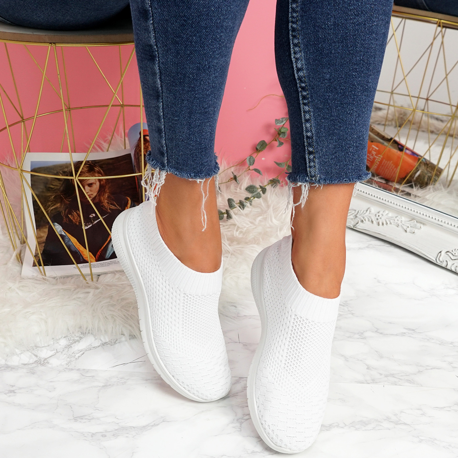 Dynna White Sock Cycling Sneakers