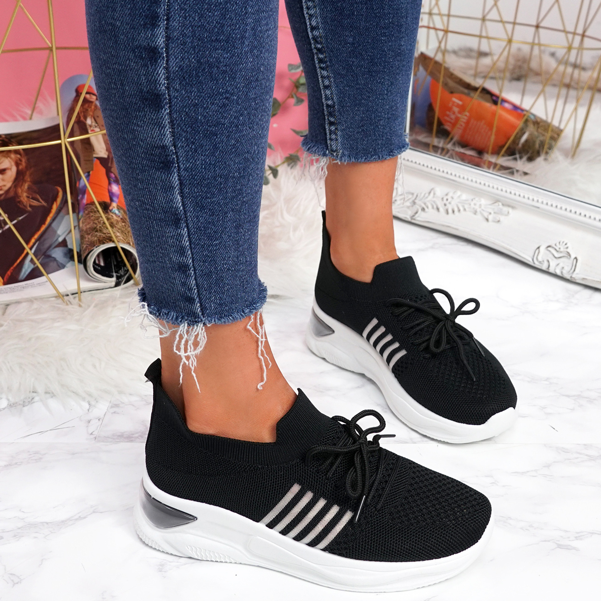 Bello Black Lace Up Walking Trainers