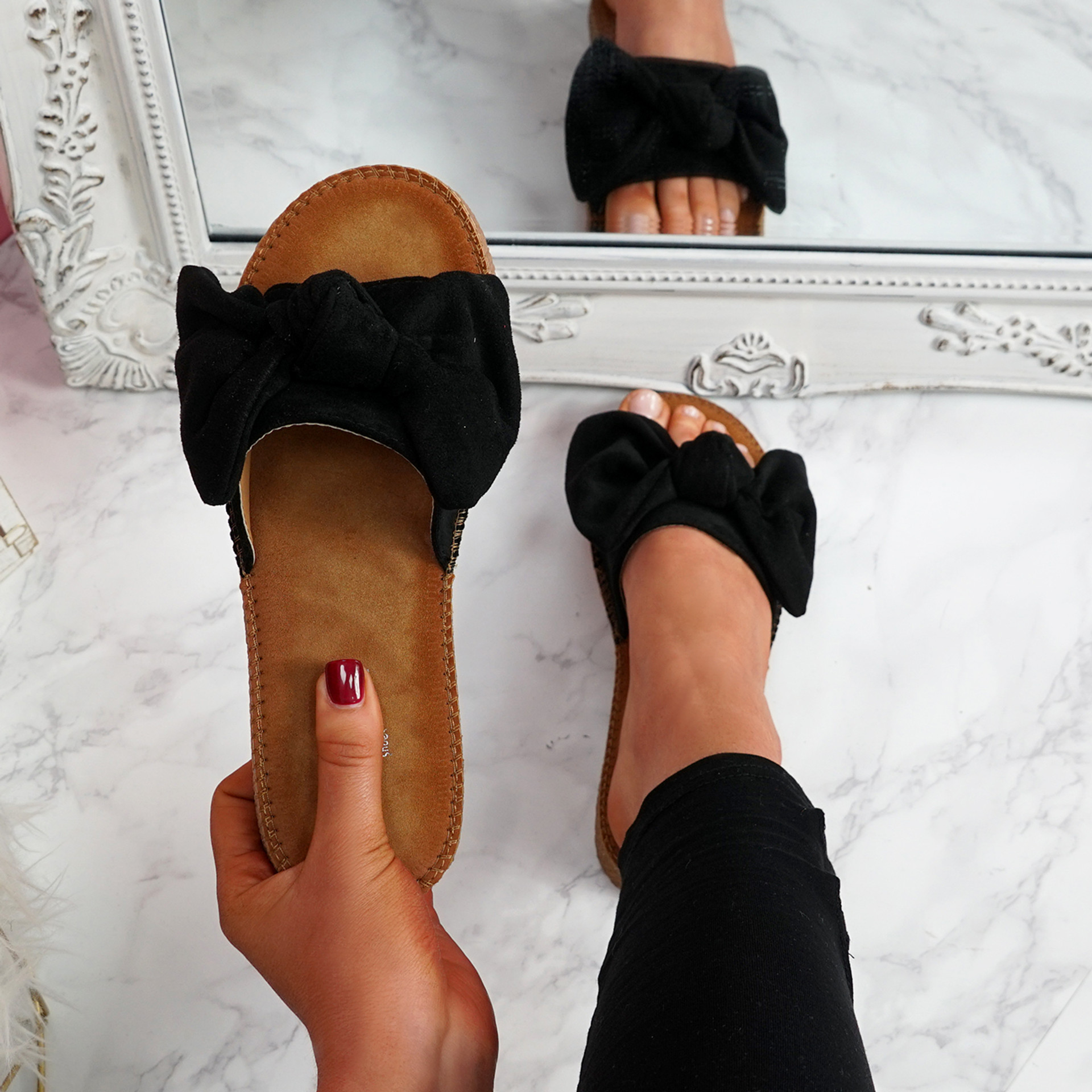 Onno Black Bow Flat Sandals