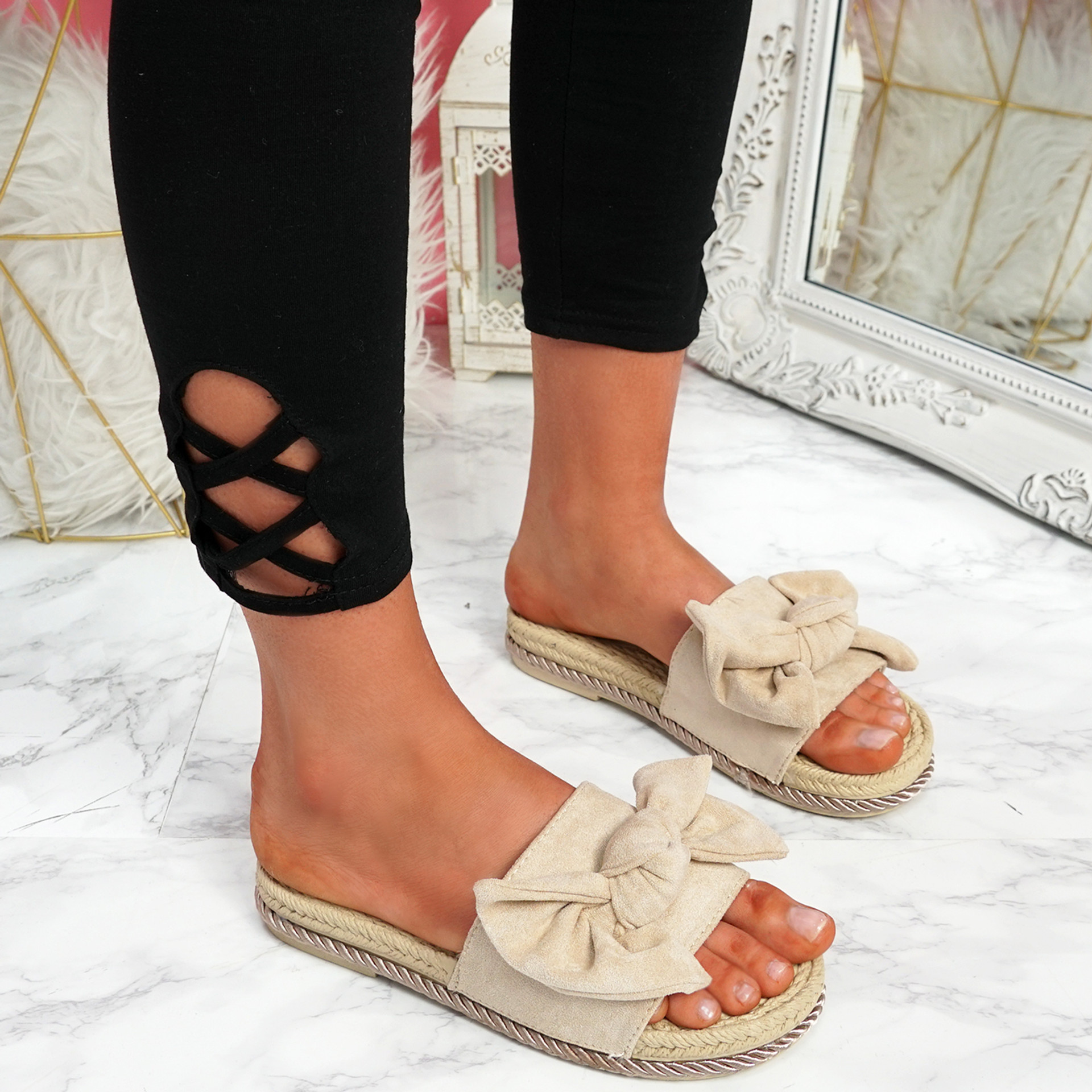 Laya Beige Bow Platform Sandals
