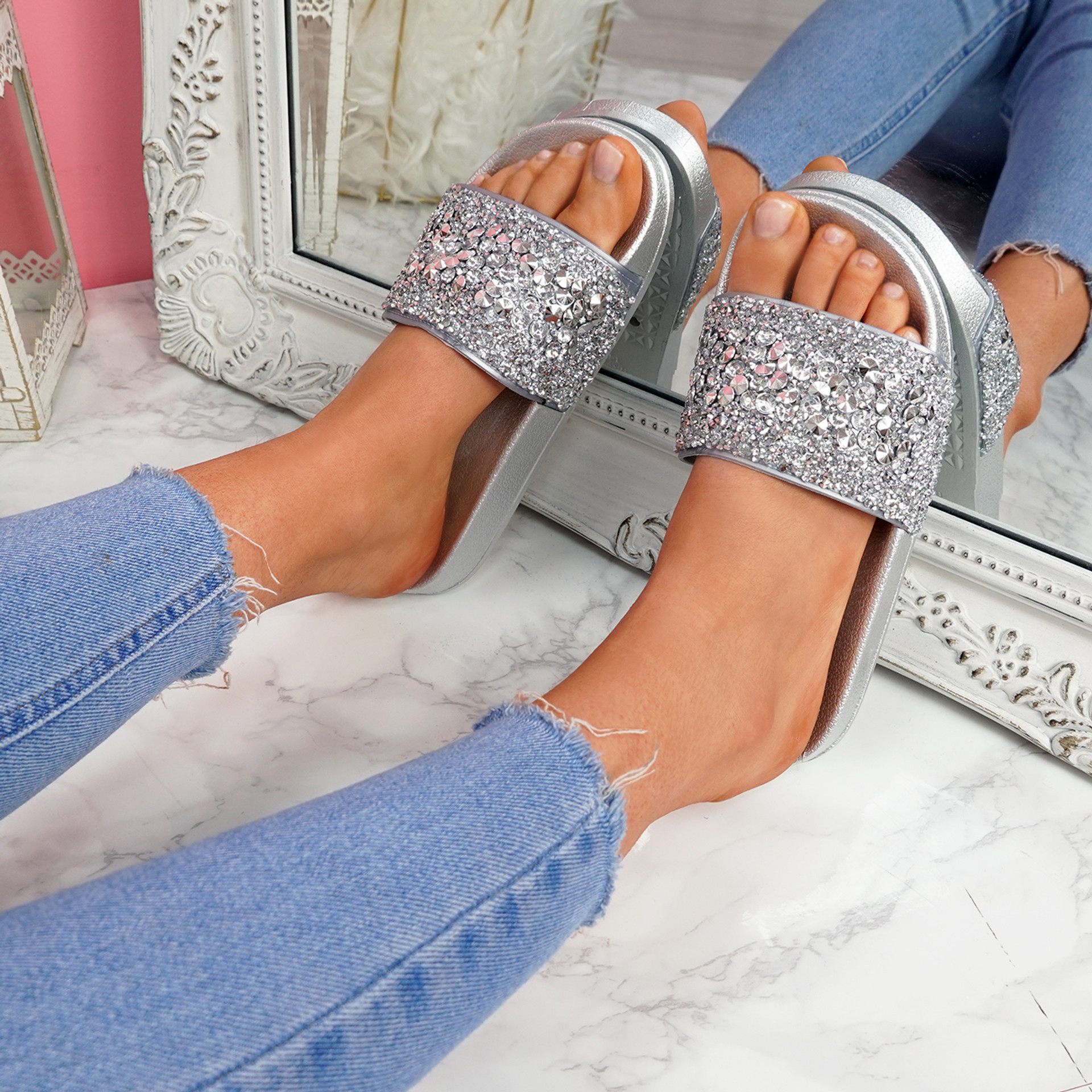 Kevy Silver Diamante Studded Sandals
