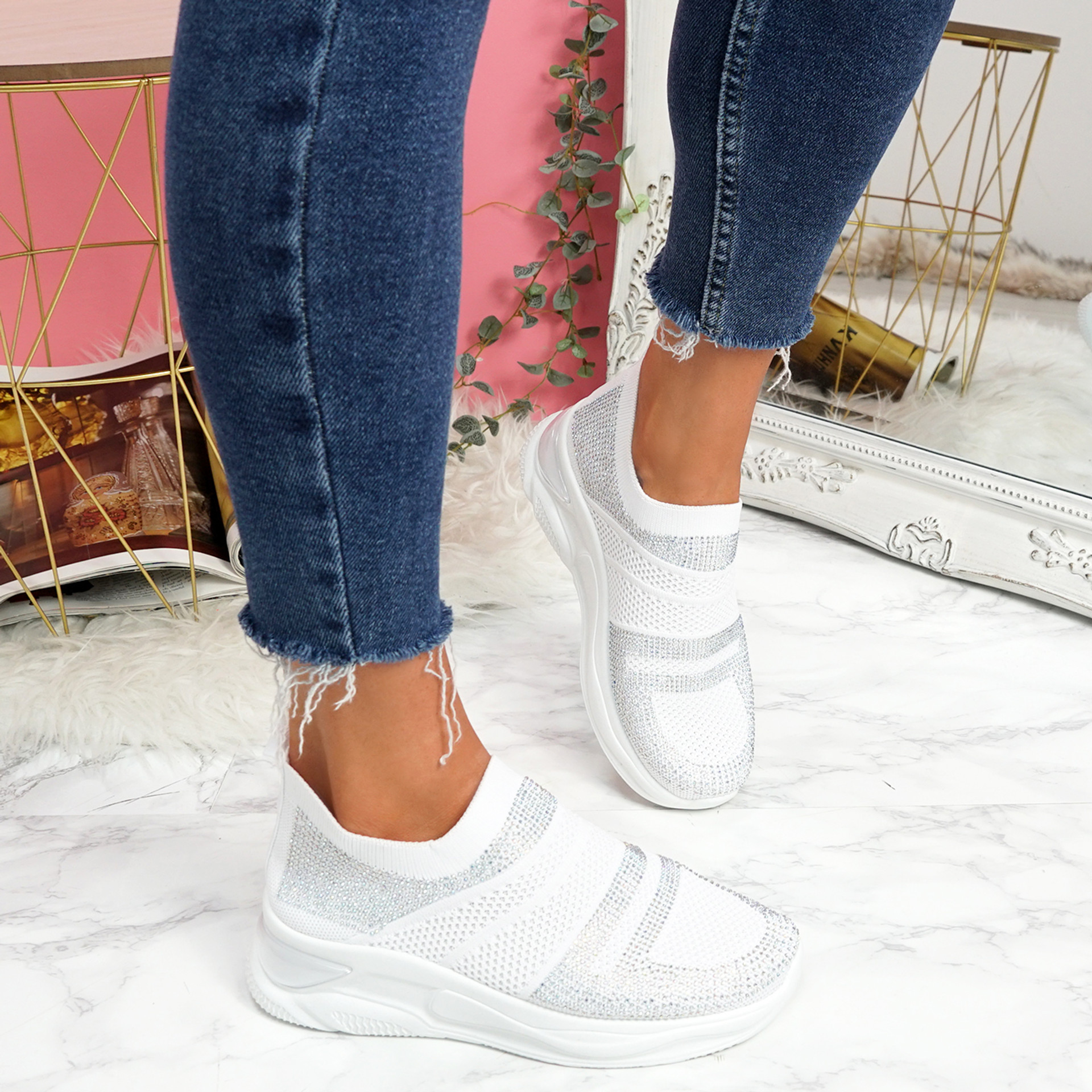Enna White Studded Trainers