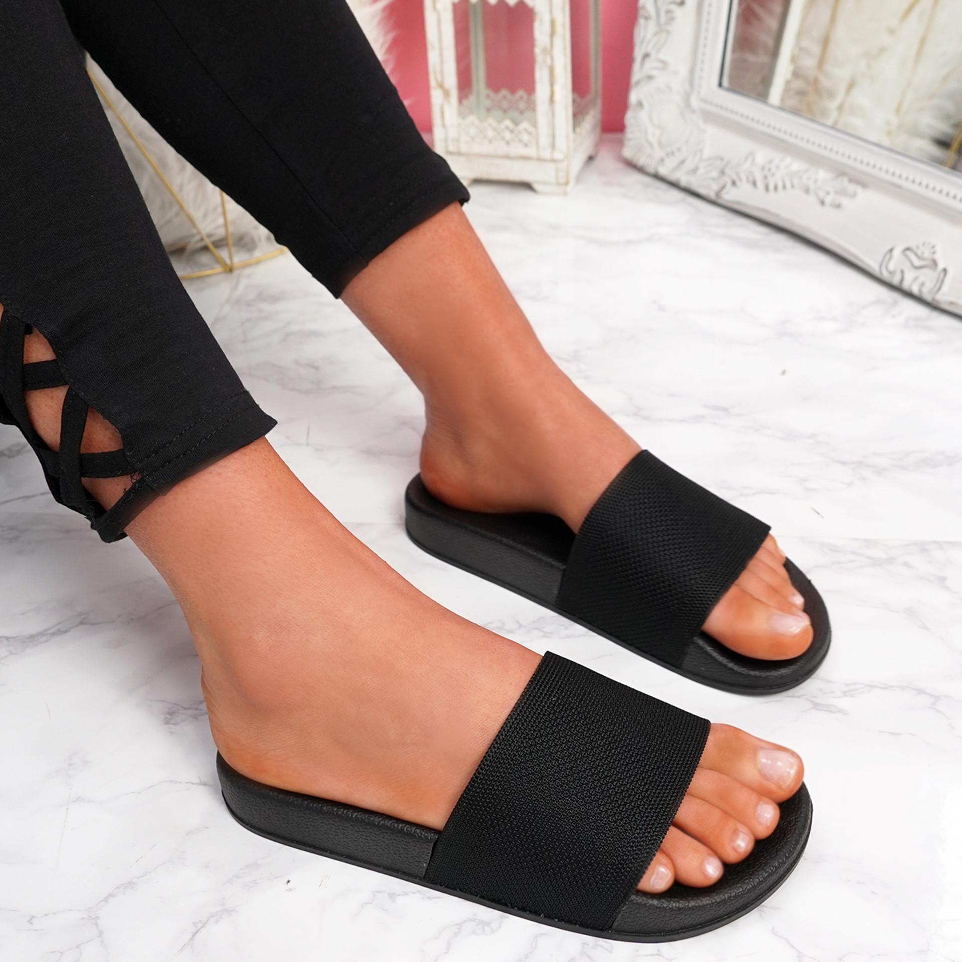 Senny Black Knit Flat Sandals