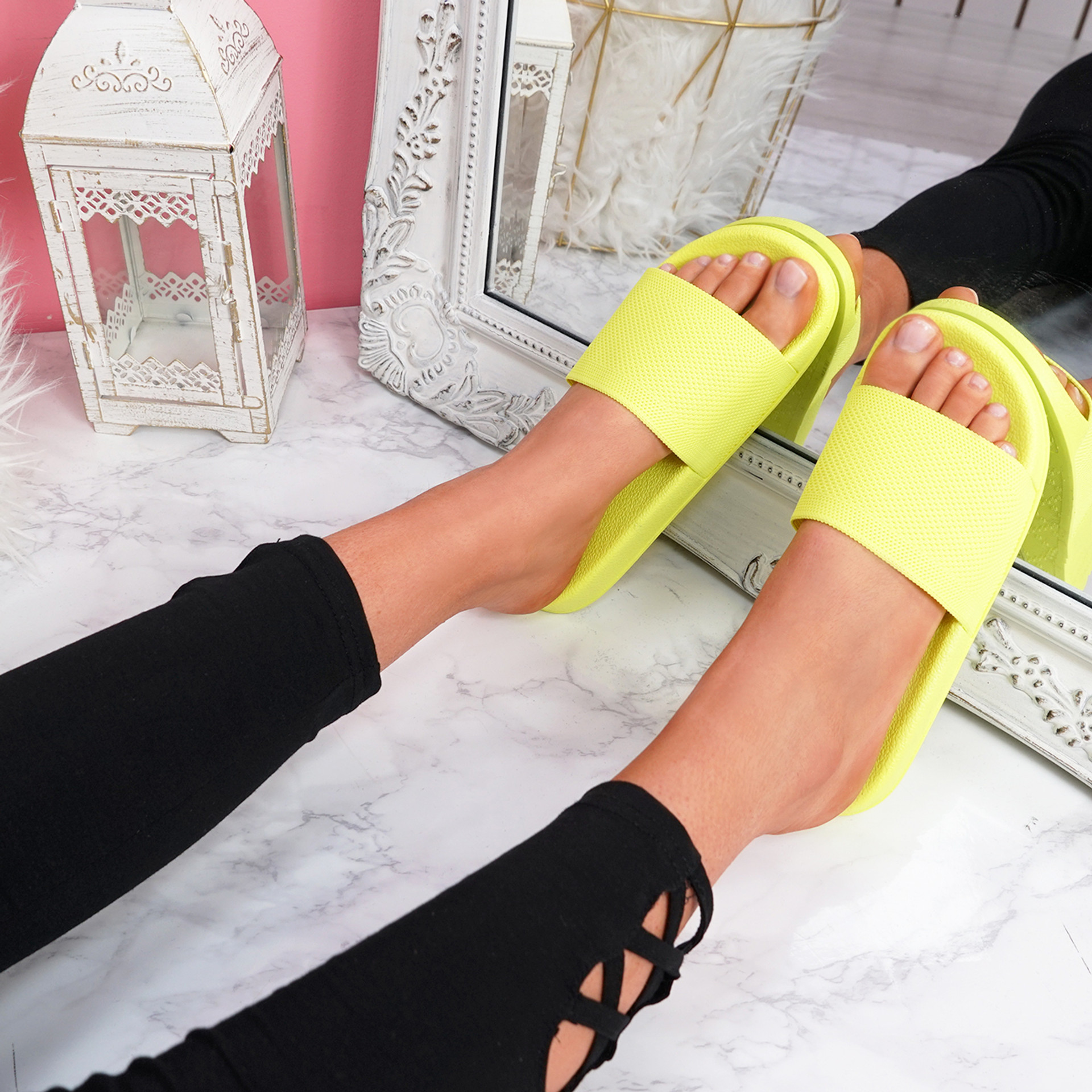 Senny Yellow Knit Flat Sandals