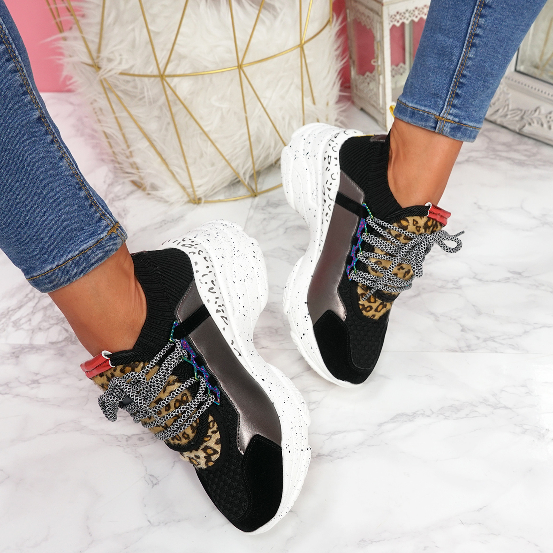 Lerry Black Lace Up Chunky Sneakers