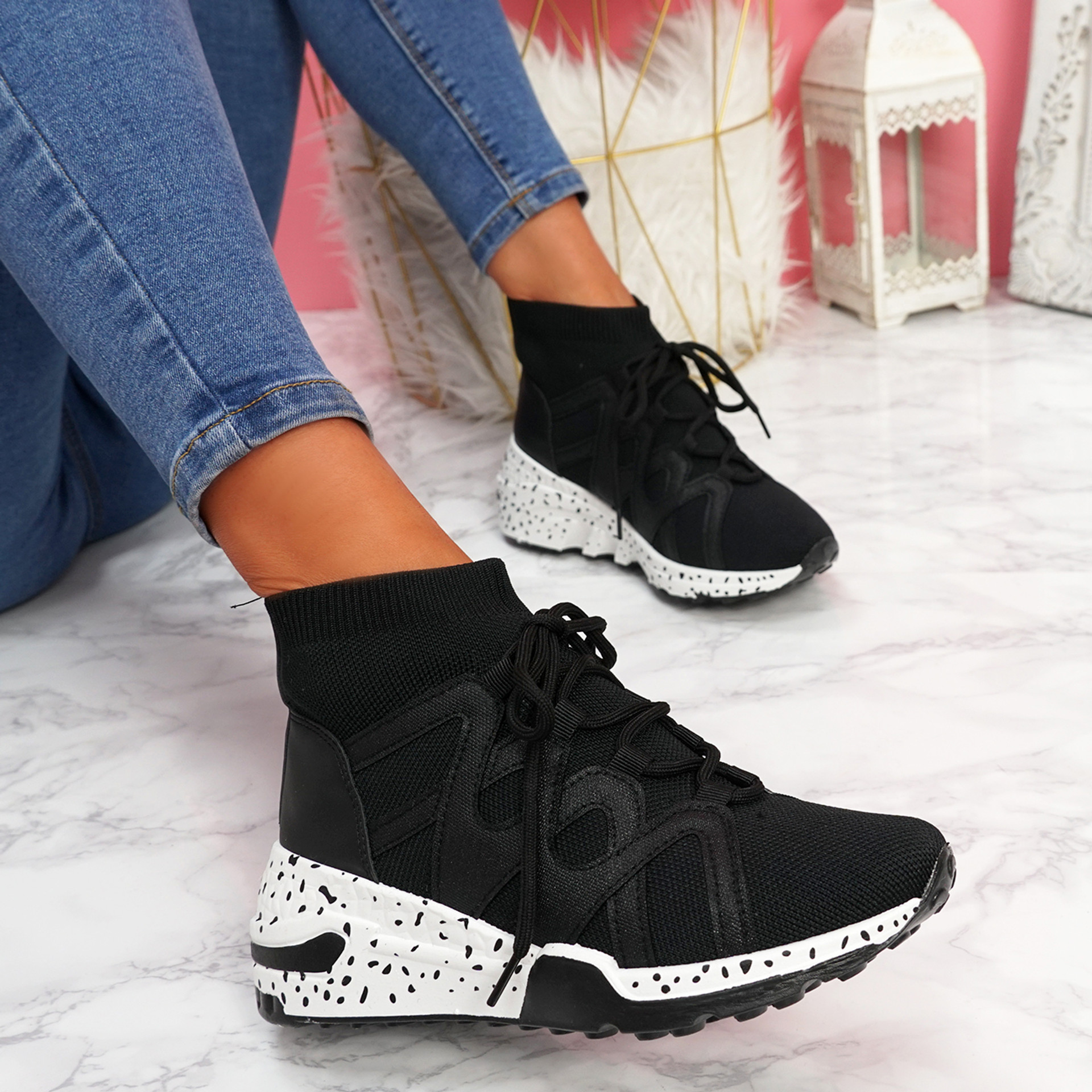 Kezy Black Lace Up Chunky Trainers