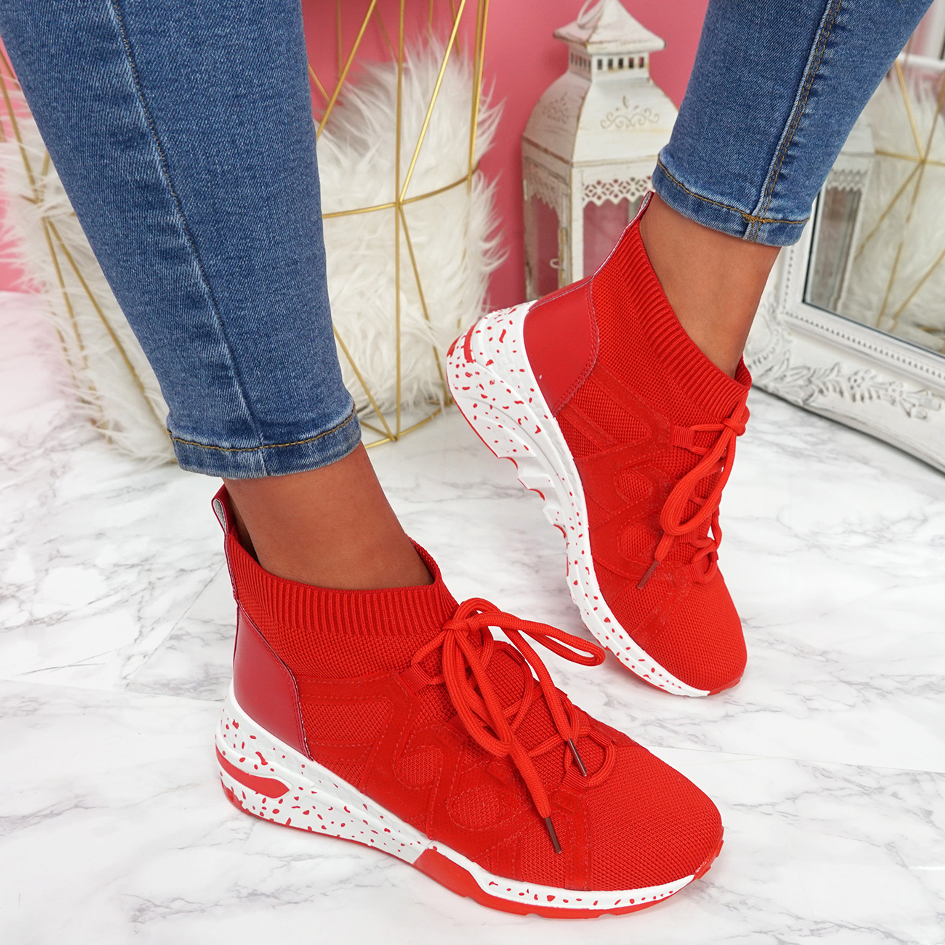 Kezy Red Lace Up Chunky Trainers