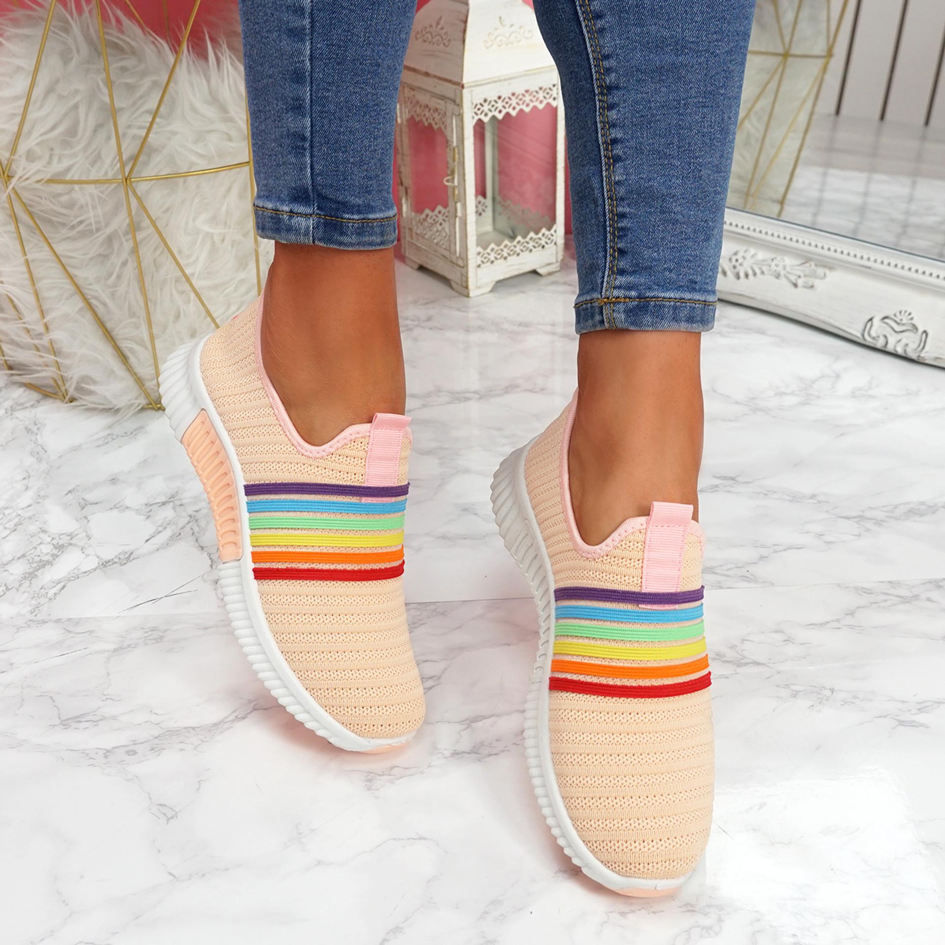 Izzy Pink Rainbow Trainers
