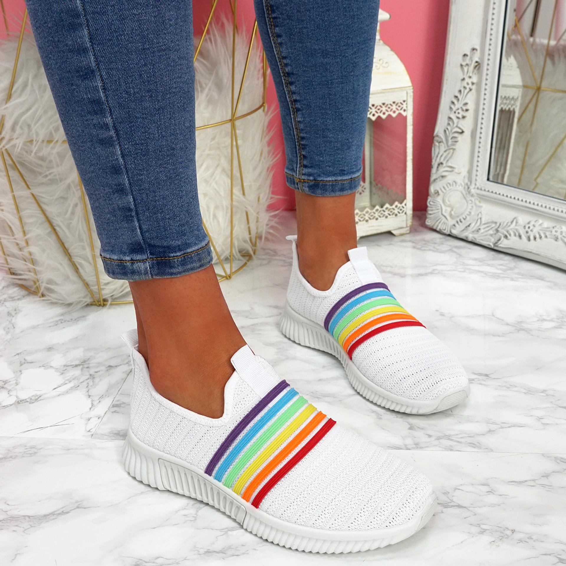 Izzy White Rainbow Trainers
