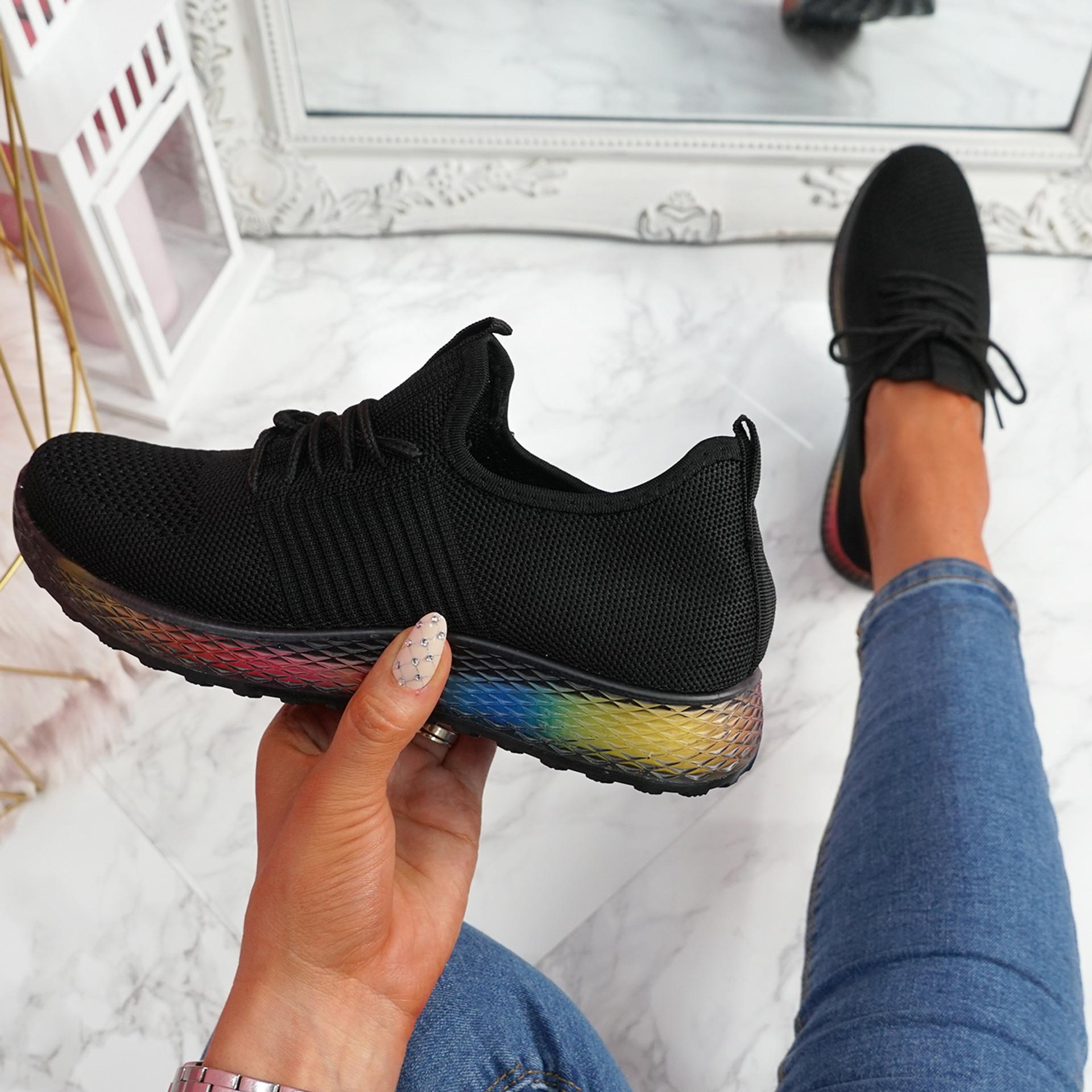 Eva Black Rainbow Trainers