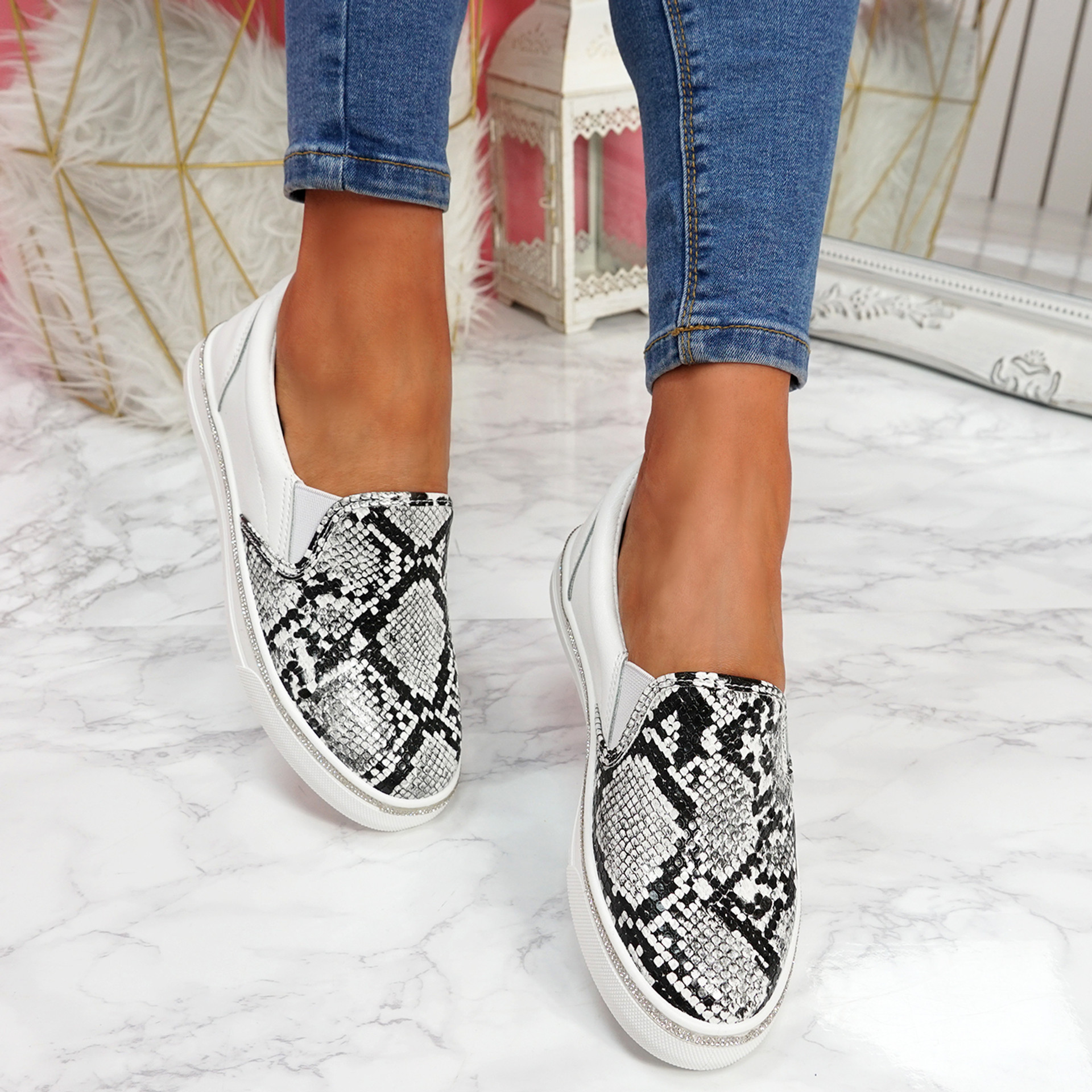Heddy White Snake Skin Trainers