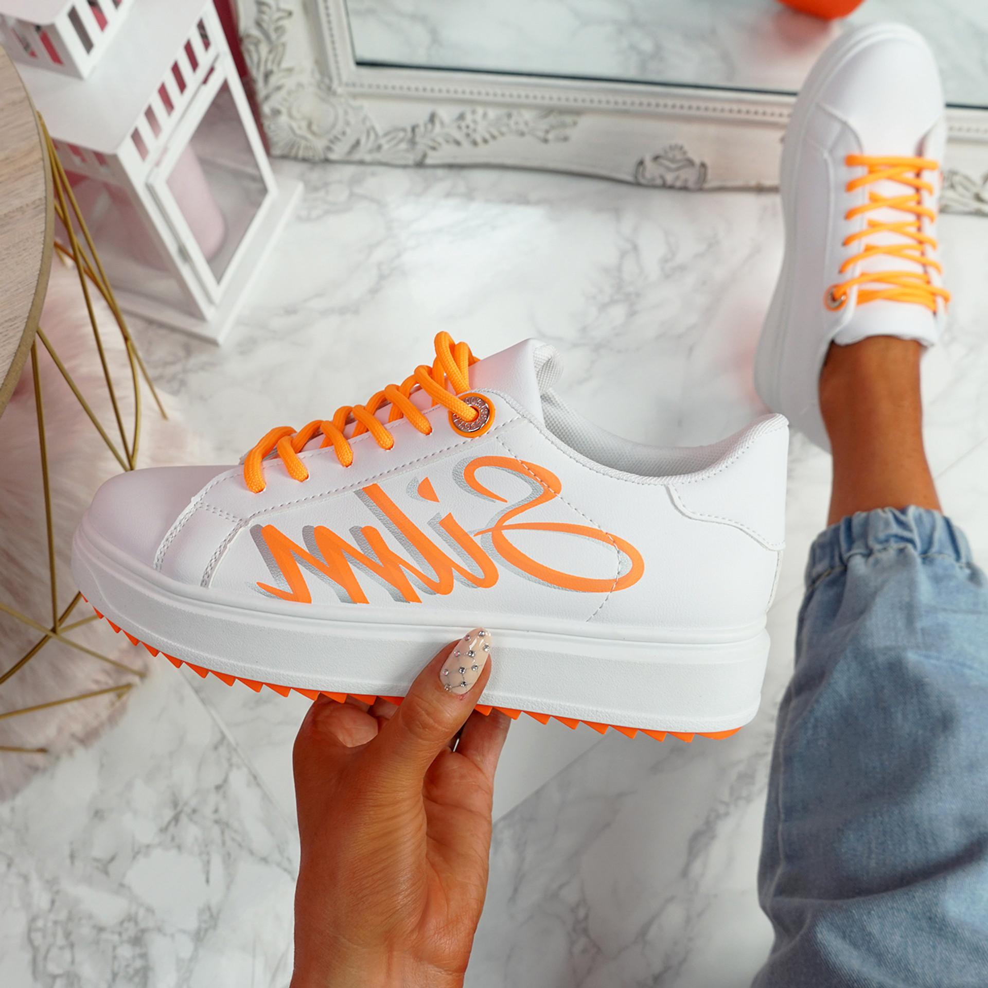 Slimme White Orange Platform Trainers