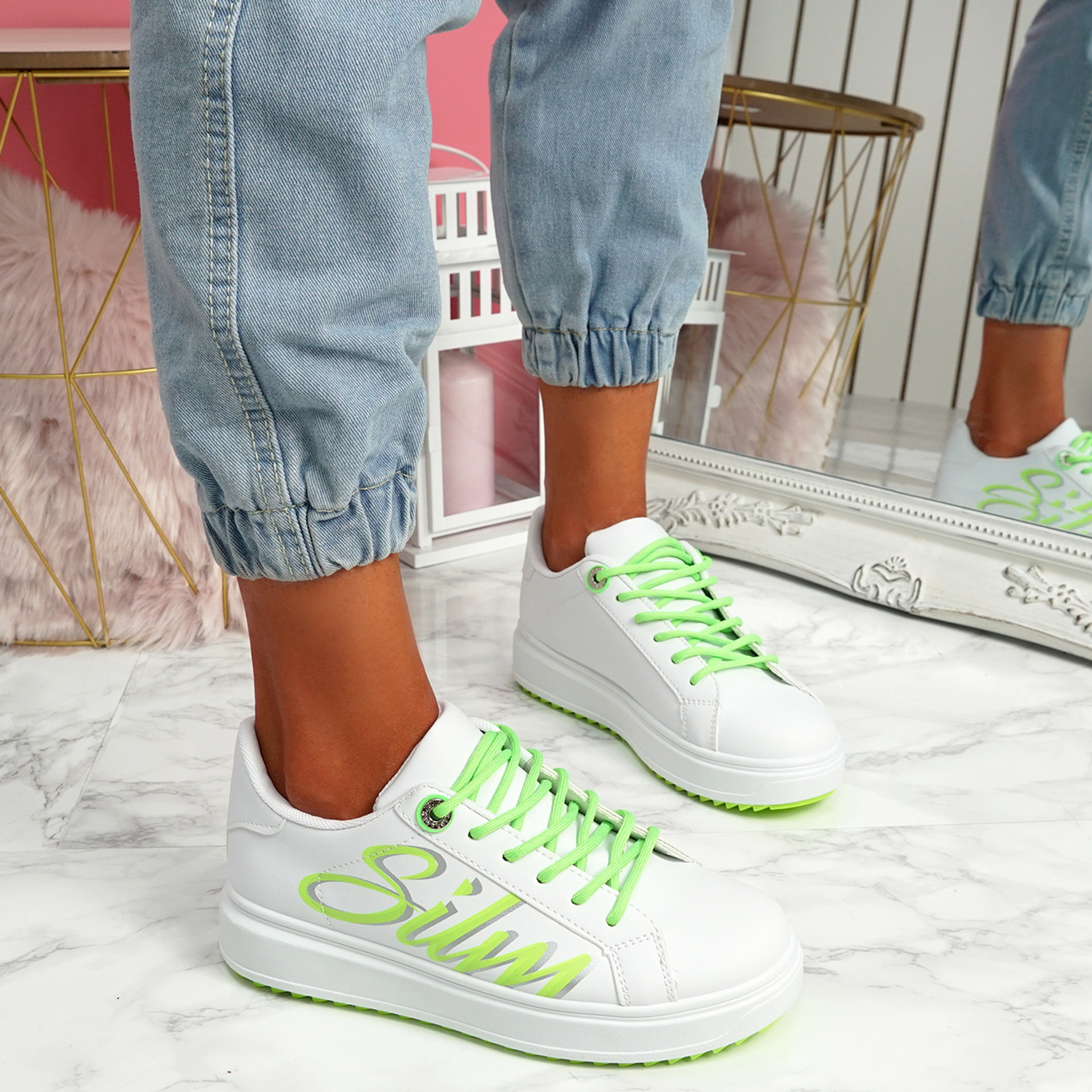 Slimme White Green Platform Trainers
