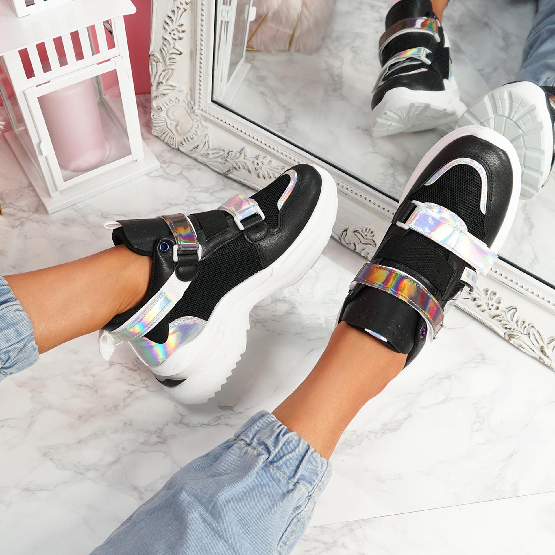 Kaya Black Chunky Sneakers