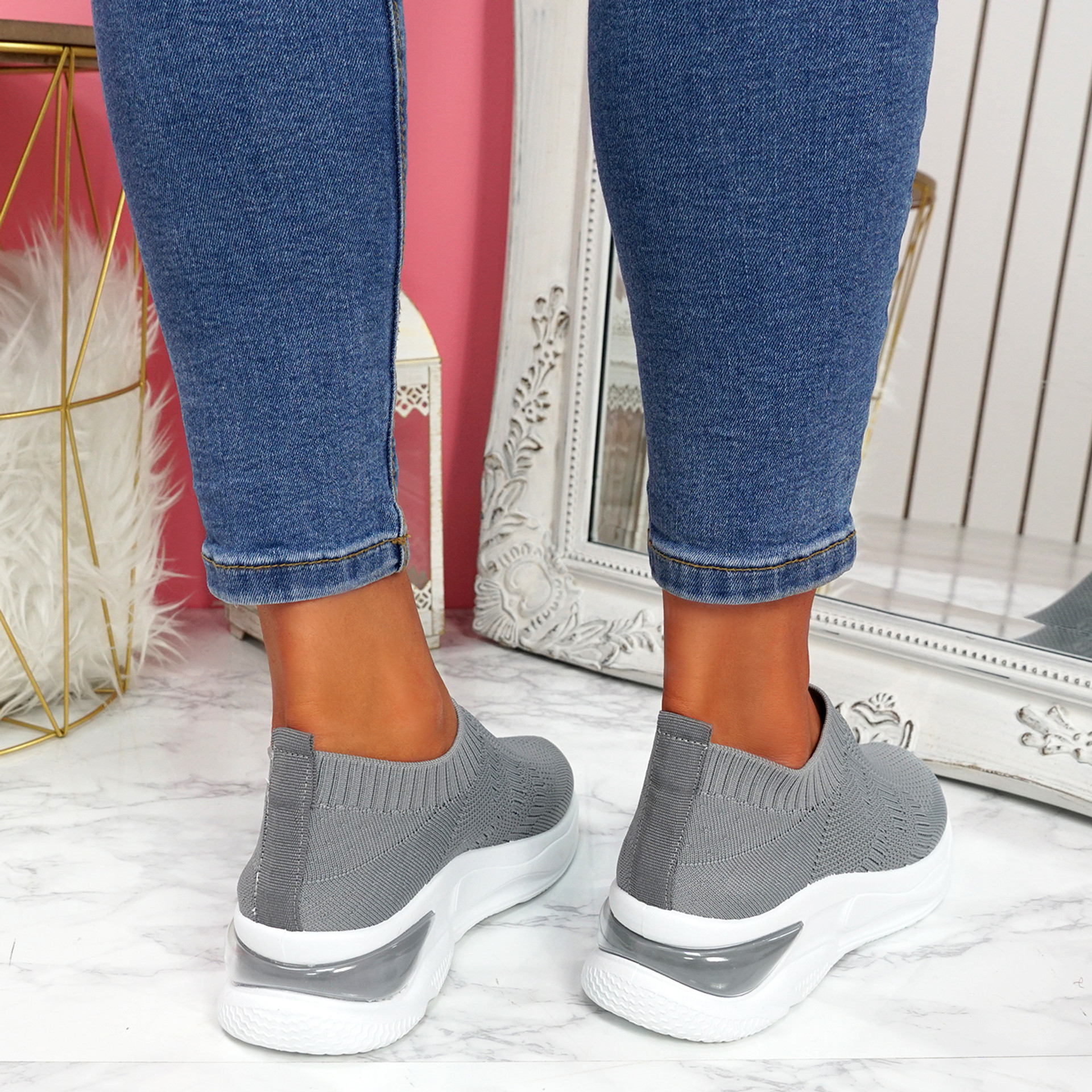 Piba Grey Knit Chunky Trainers