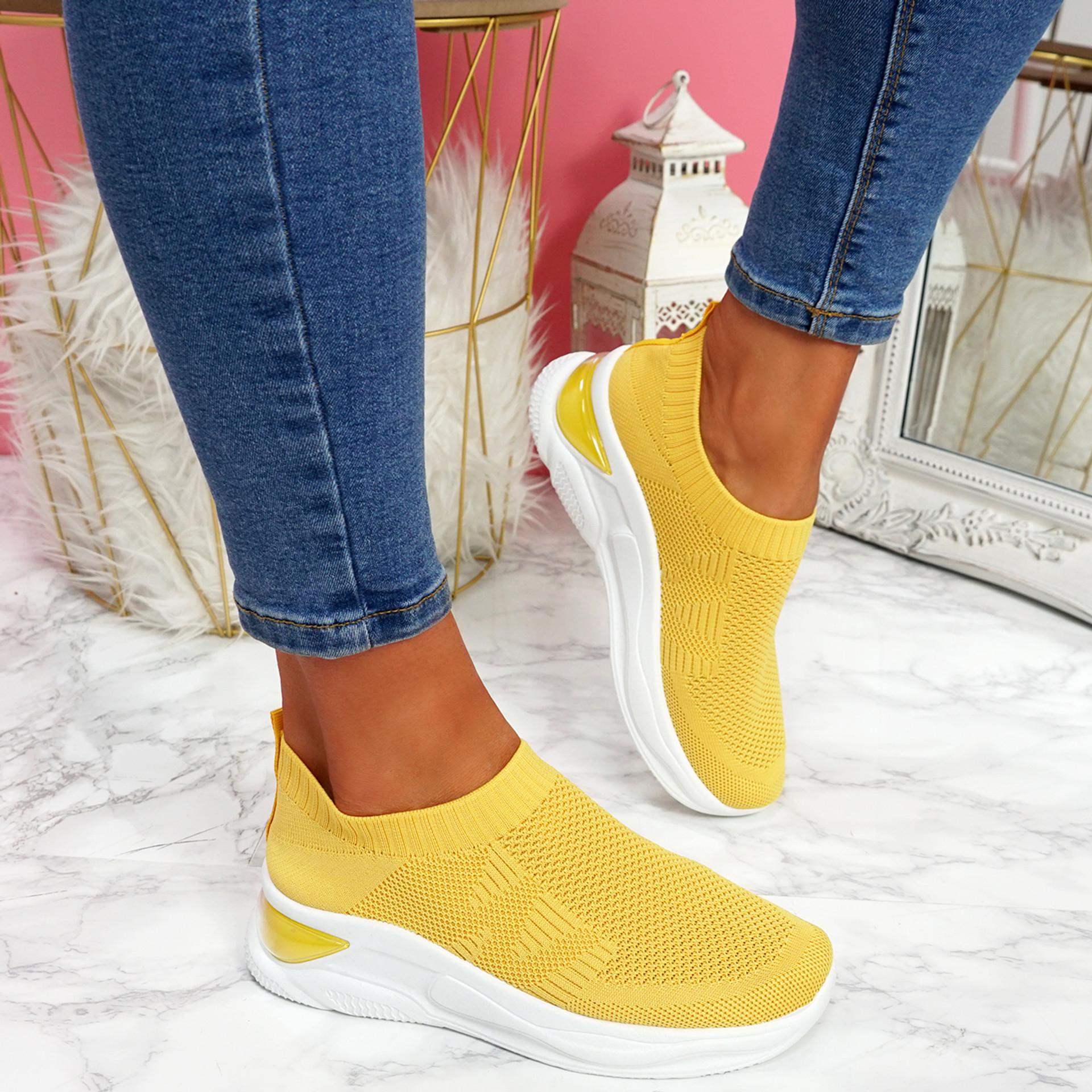 Piba Yellow Knit Chunky Trainers