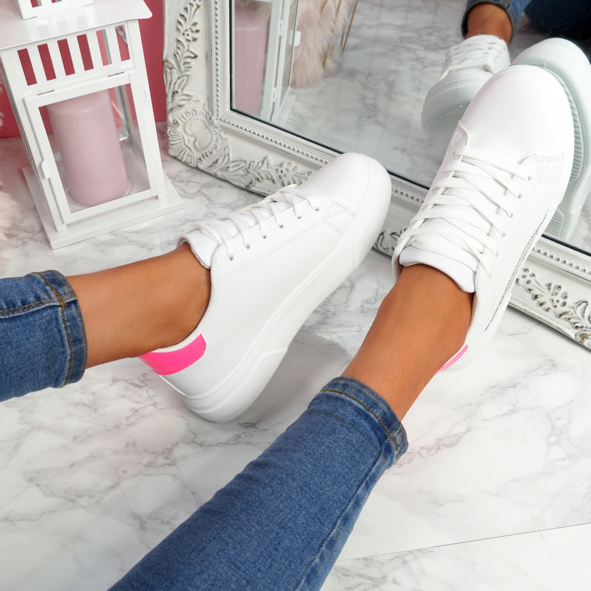 Olivia White Rose Red Platform Trainers