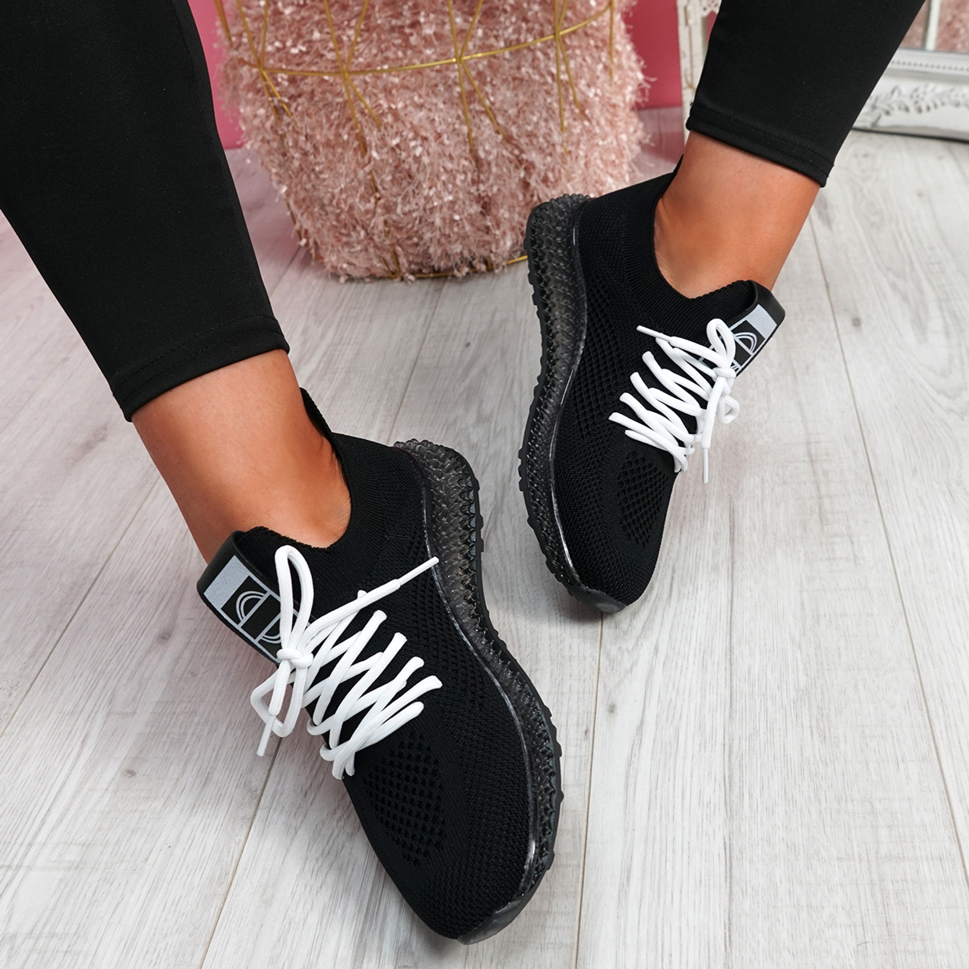 Solly Black Lace Up Sport Trainers