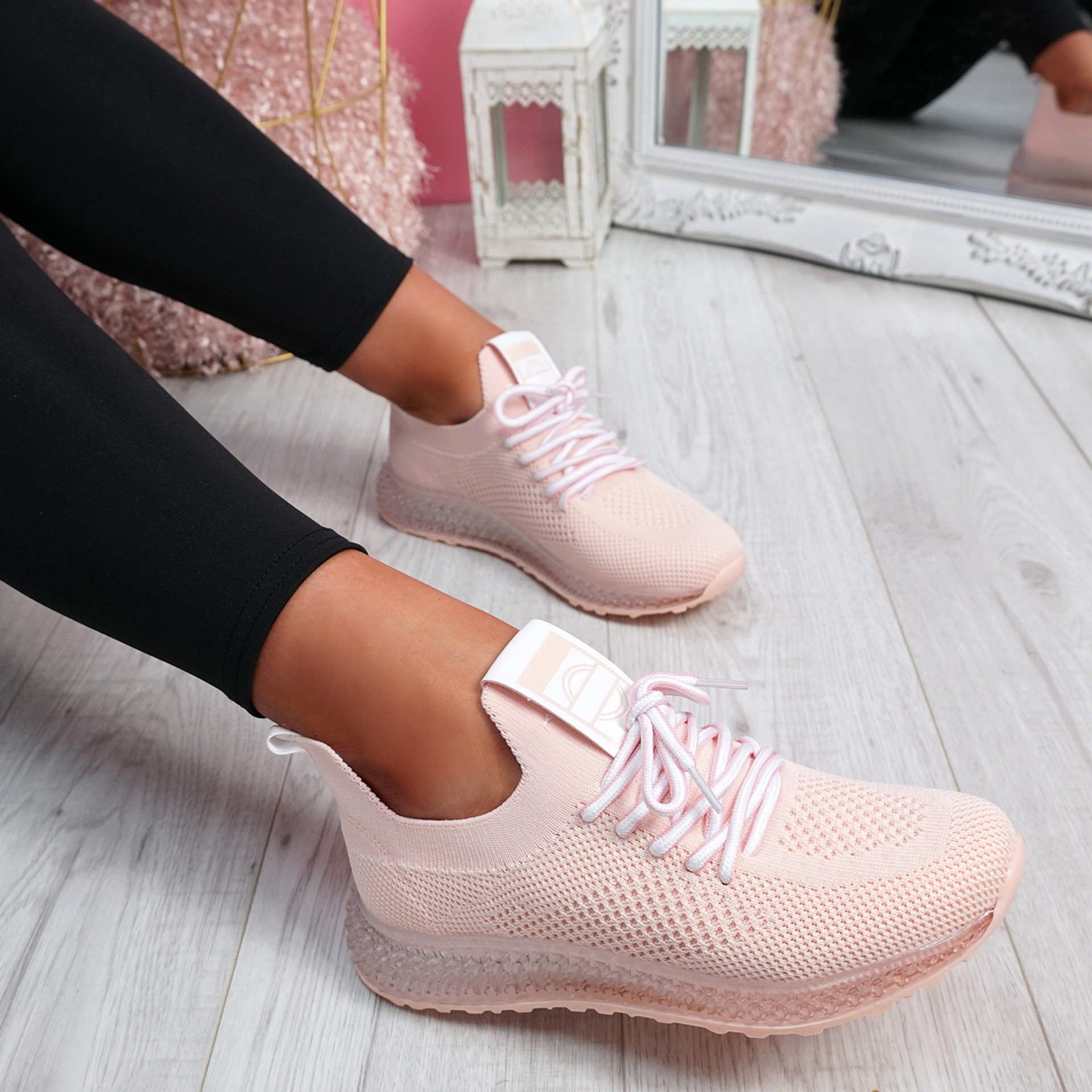 Solly Pink Lace Up Sport Trainers