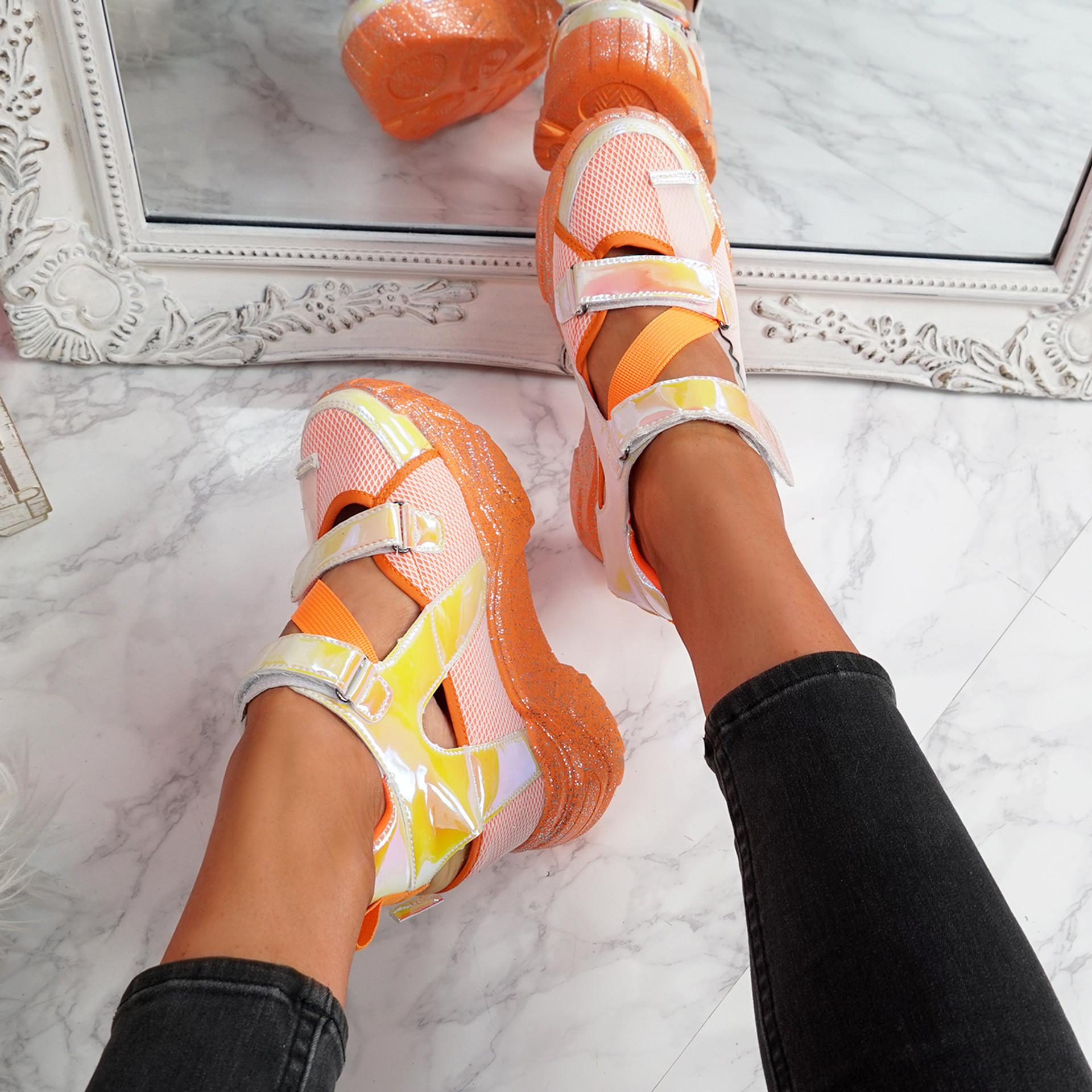 Dopa Orange Chunky Platform Trainers