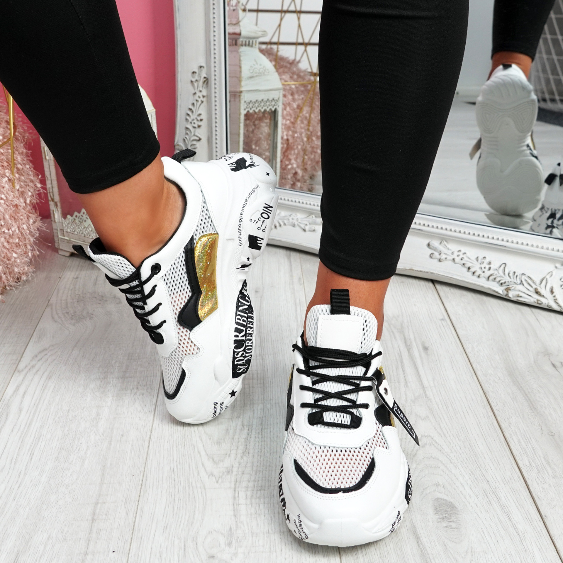 Zeny White Black Chunky Sneakers
