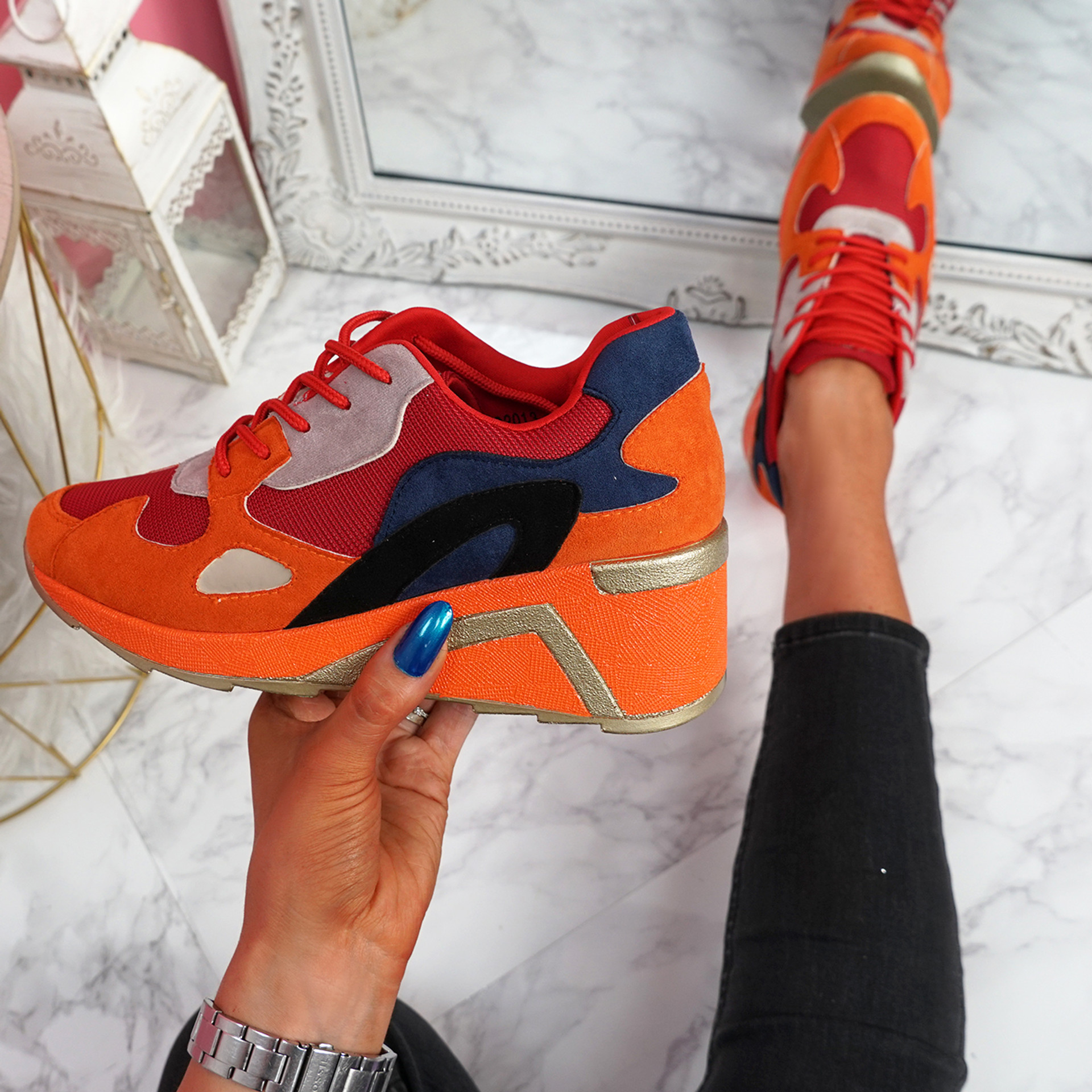 Kazza Red Wedge Trainers