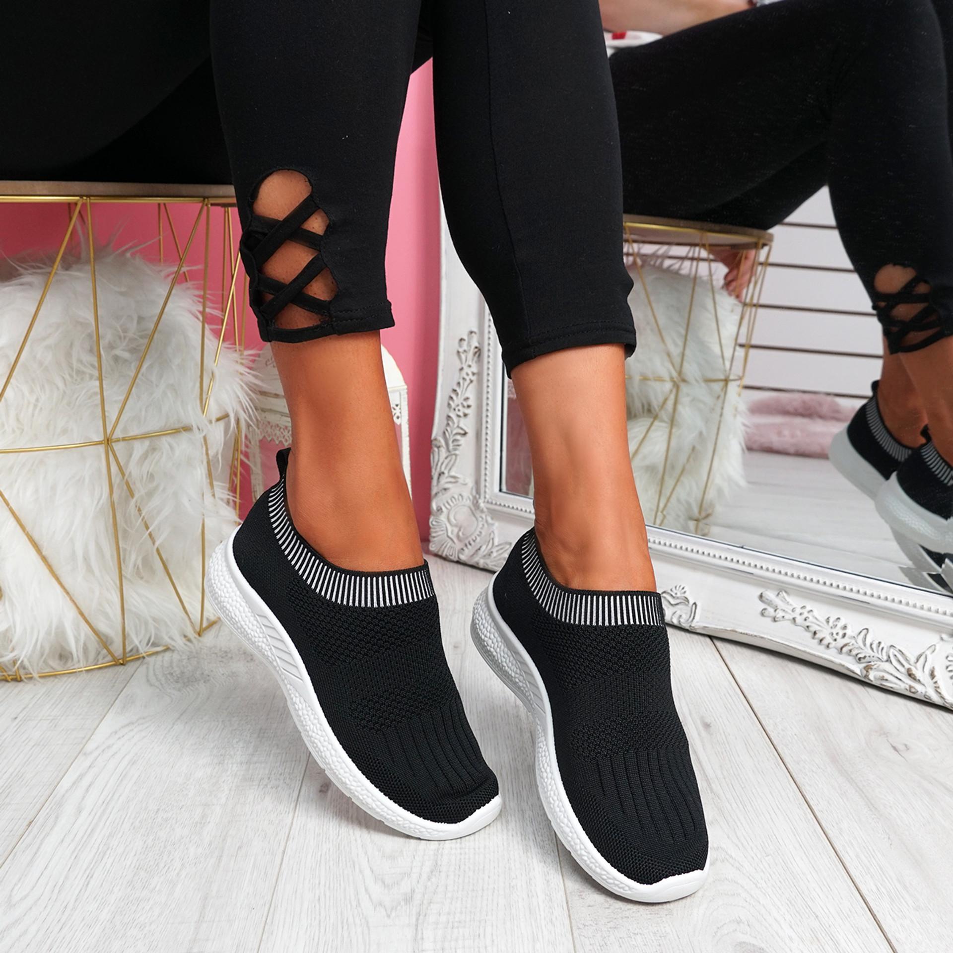 Nurya Black Knit Slip On Trainers