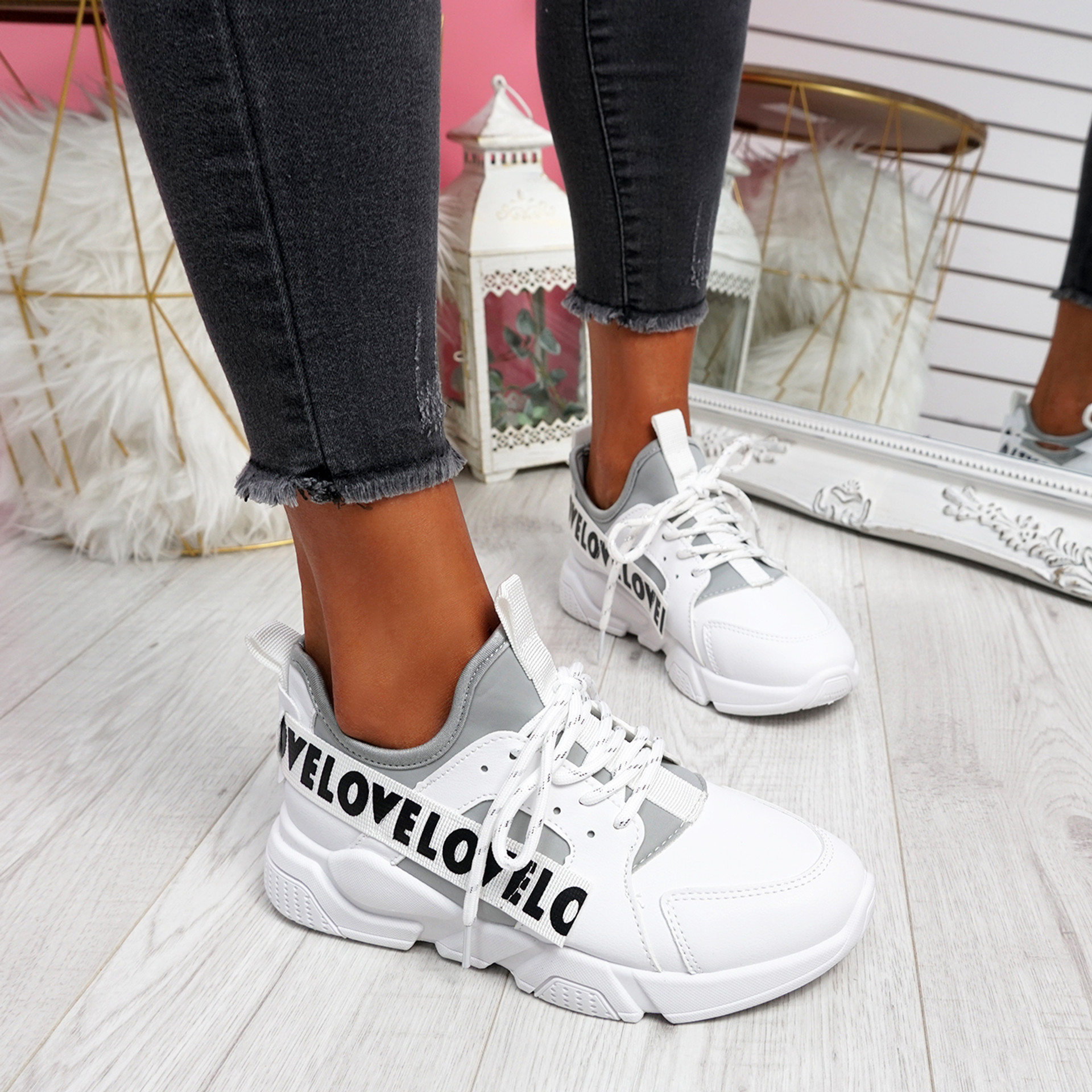 Loppe White Grey Lace Up Chunky Trainers