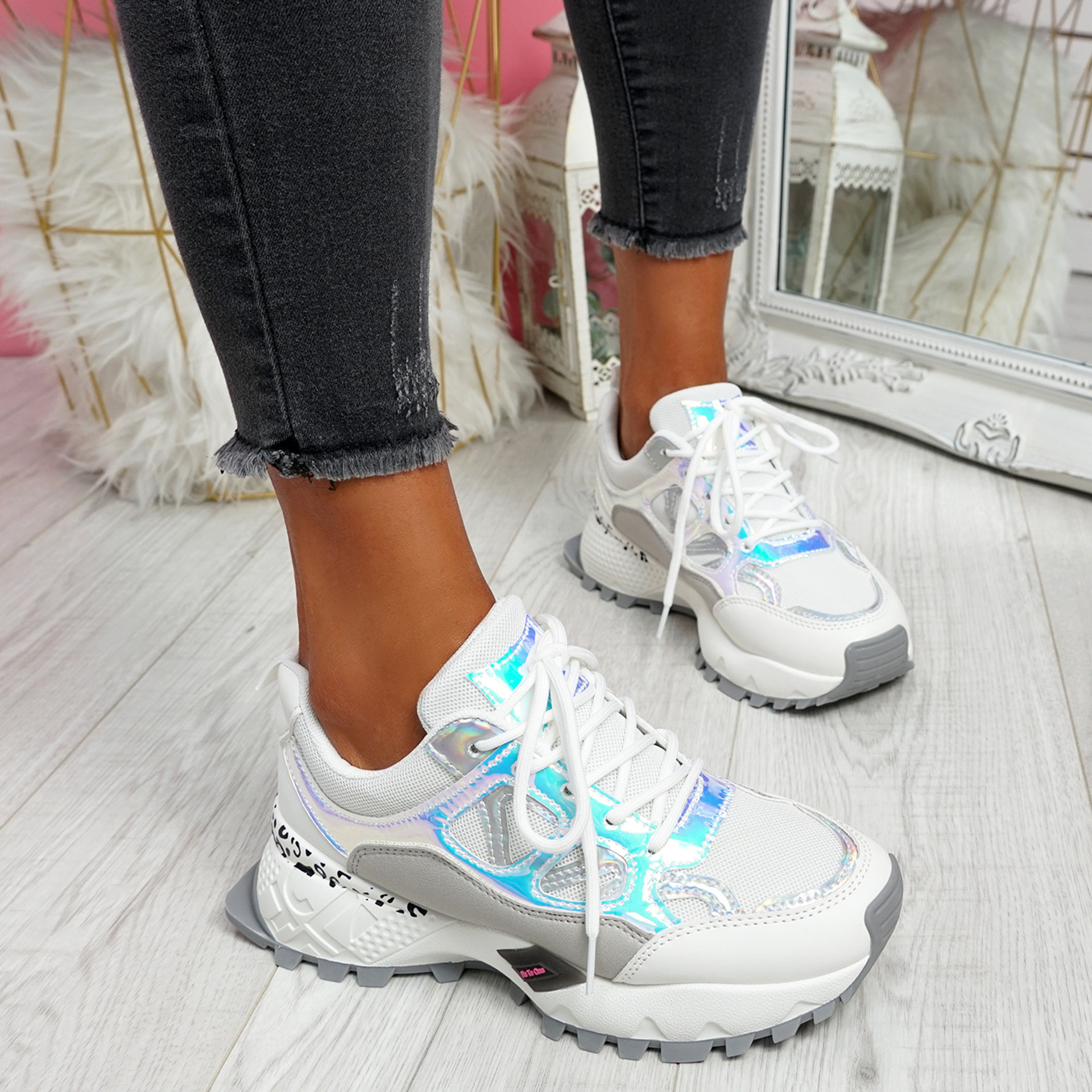 Leppy White Grey Chunky Trainers