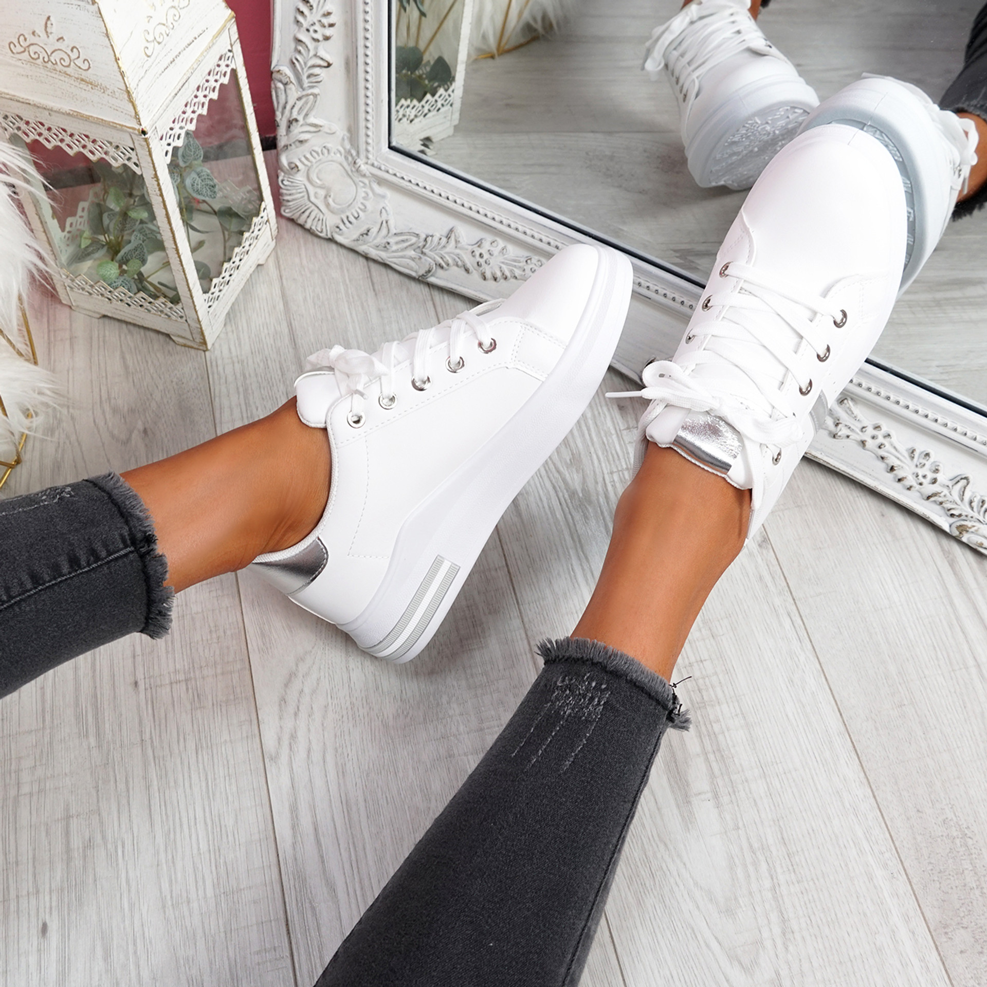 Snawa White Silver Lace Up Trainers