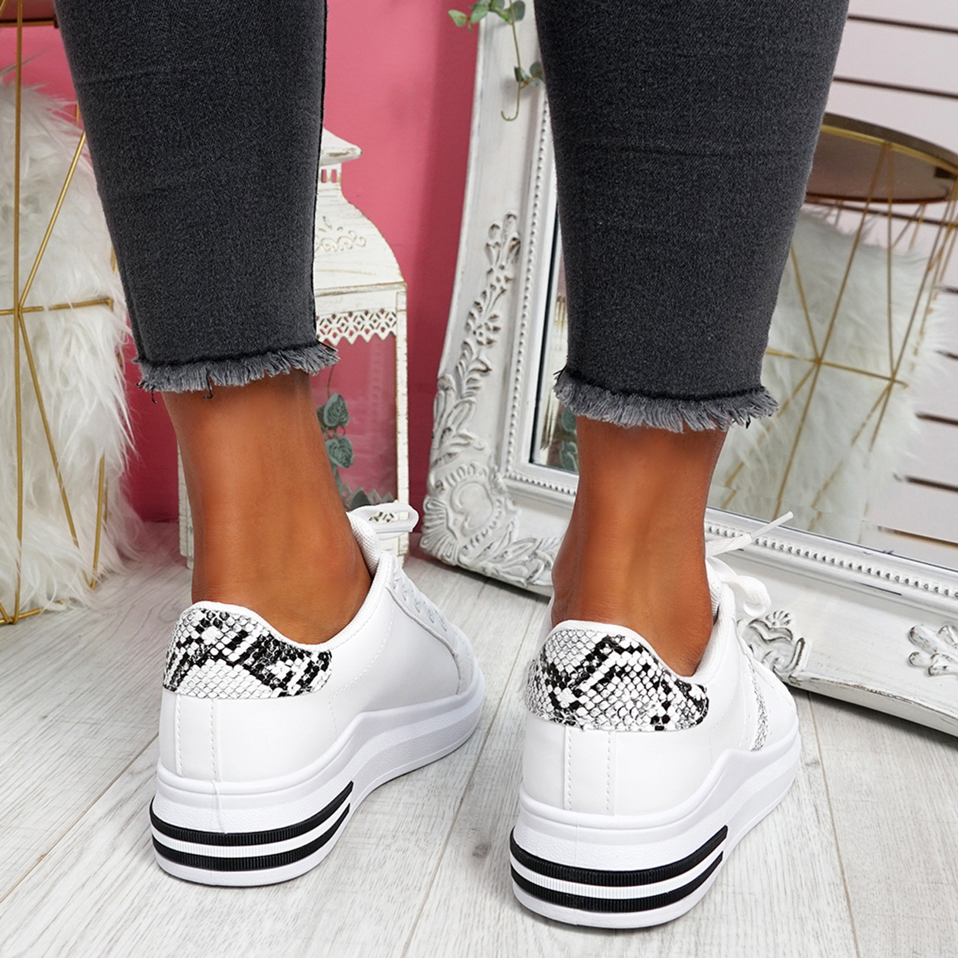 Snawa White Snake Lace Up Trainers