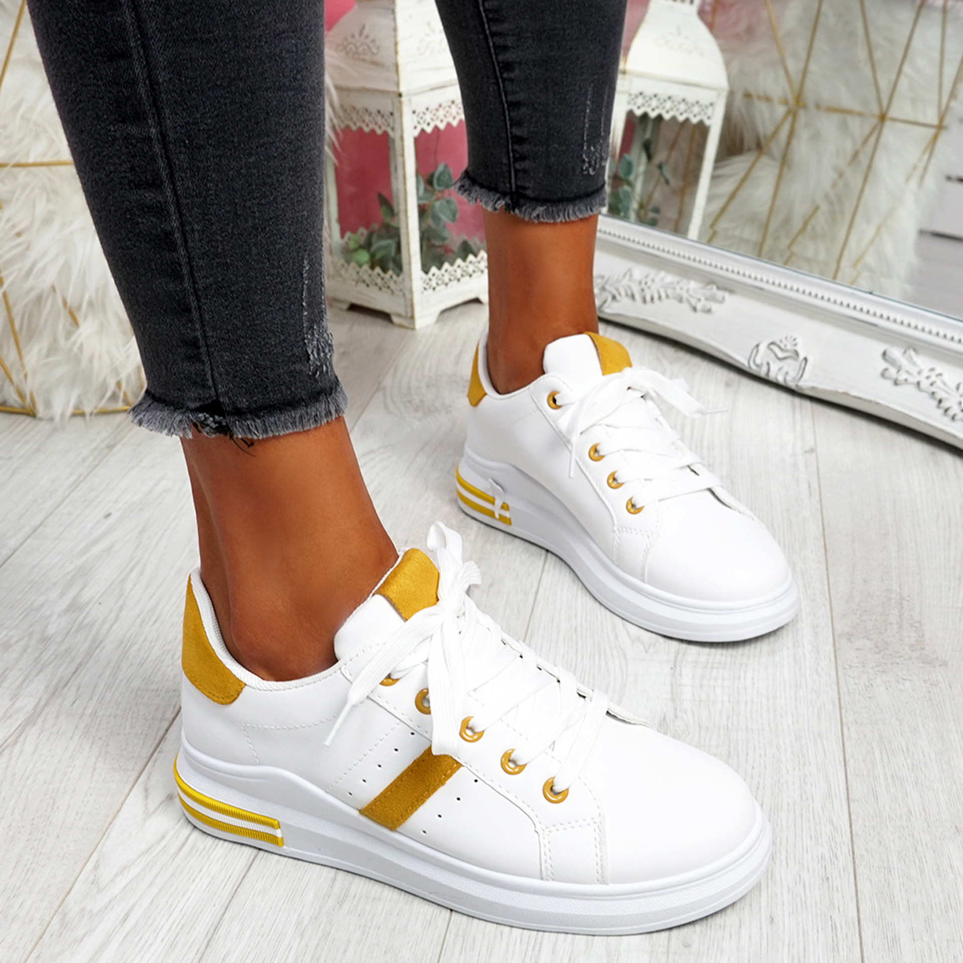 Snawa White Yellow Lace Up Trainers