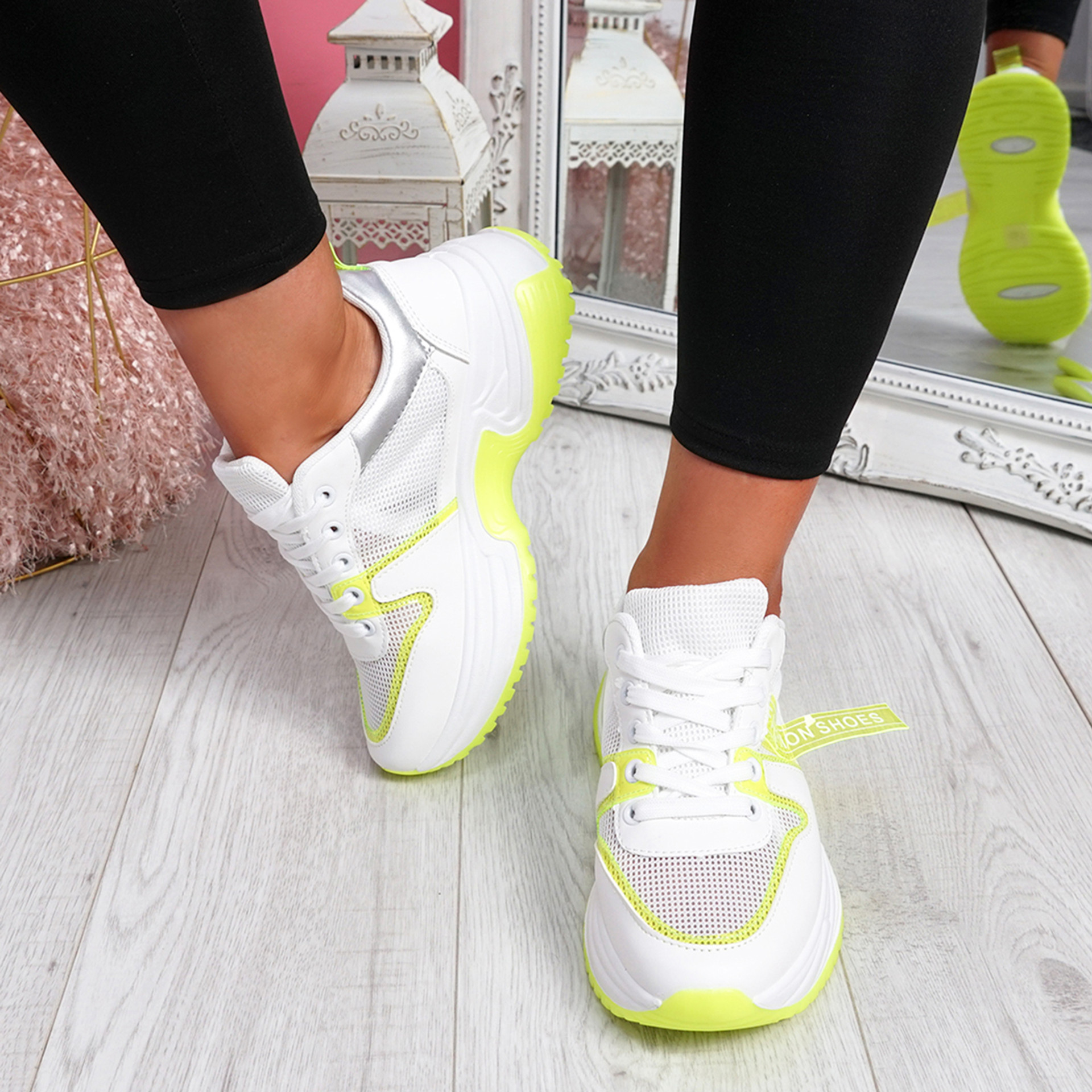 Ellory White Fluorescent Green Chunky Trainers