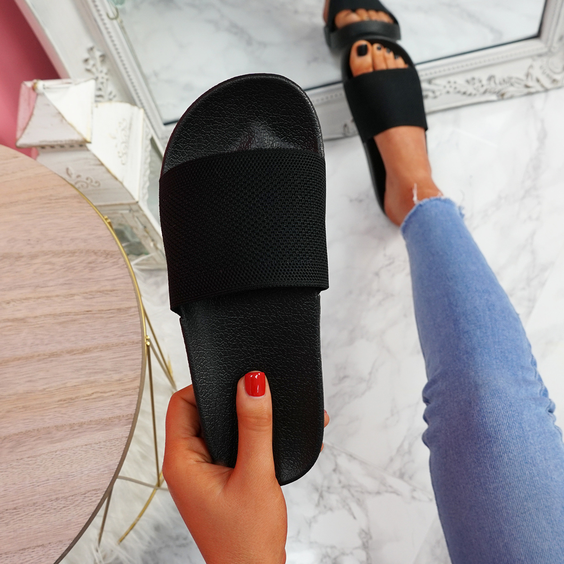 Mannya Black Slip On Sandals