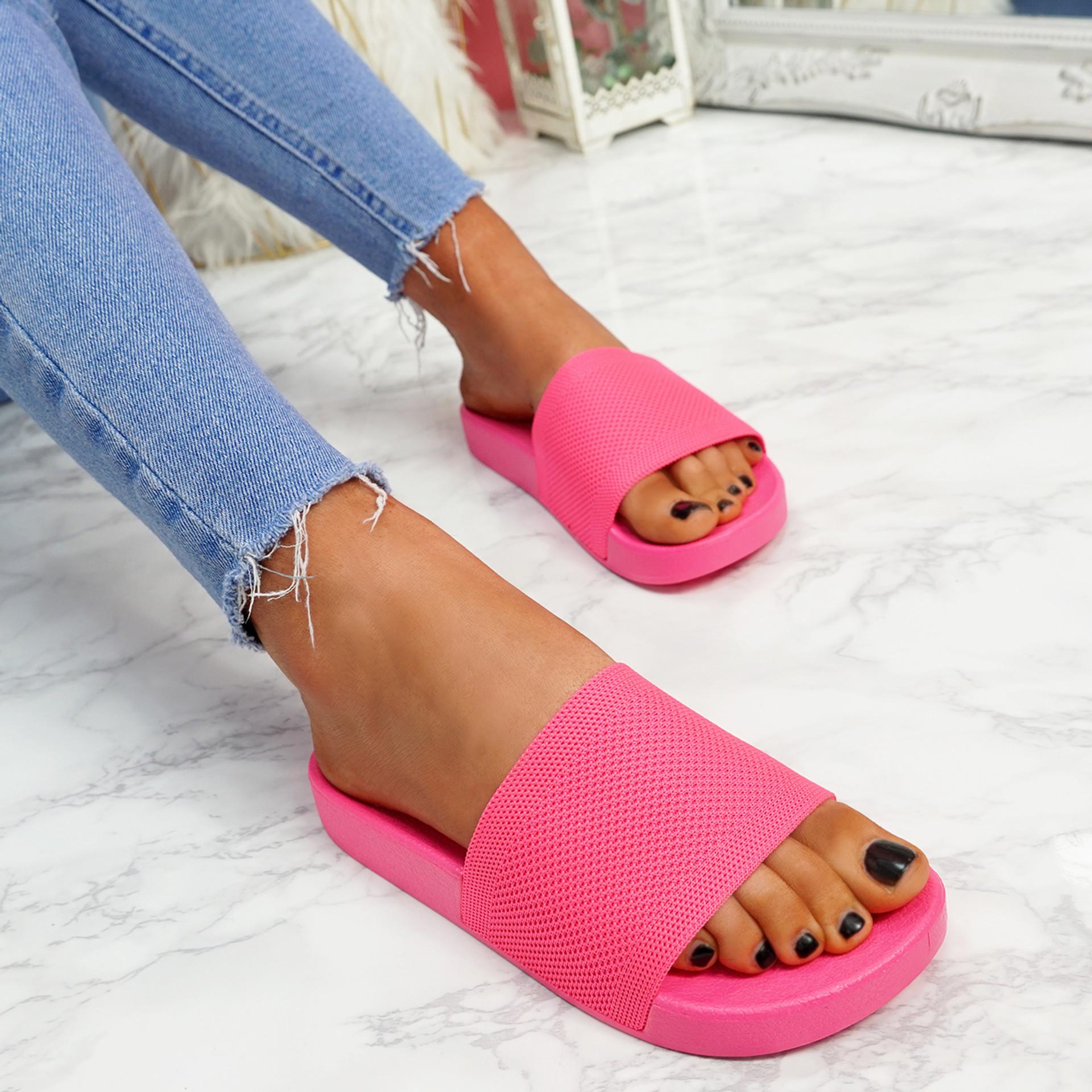 Mannya Fluorescent Fuchsia Slip On Sandals