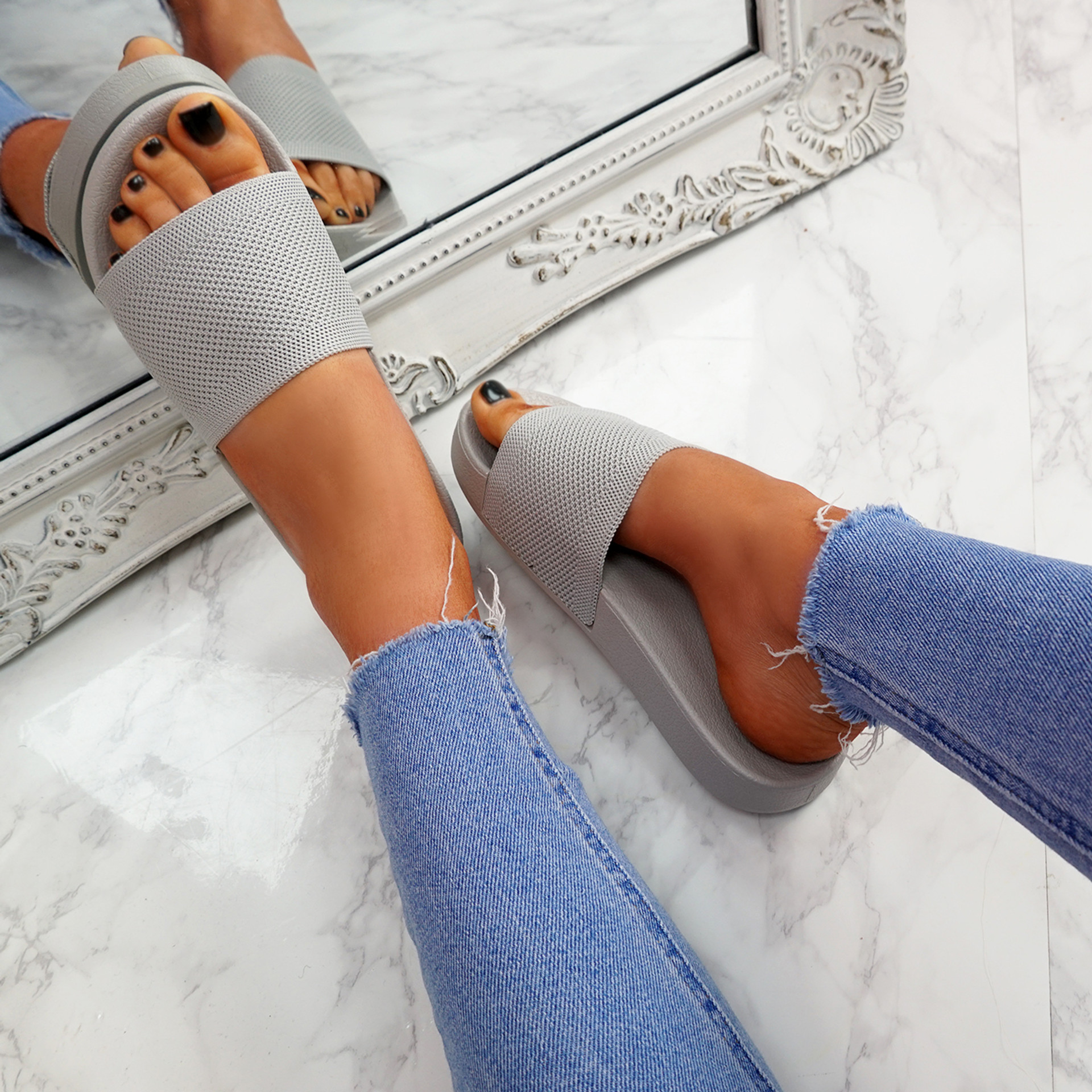 Mannya Grey Slip On Sandals