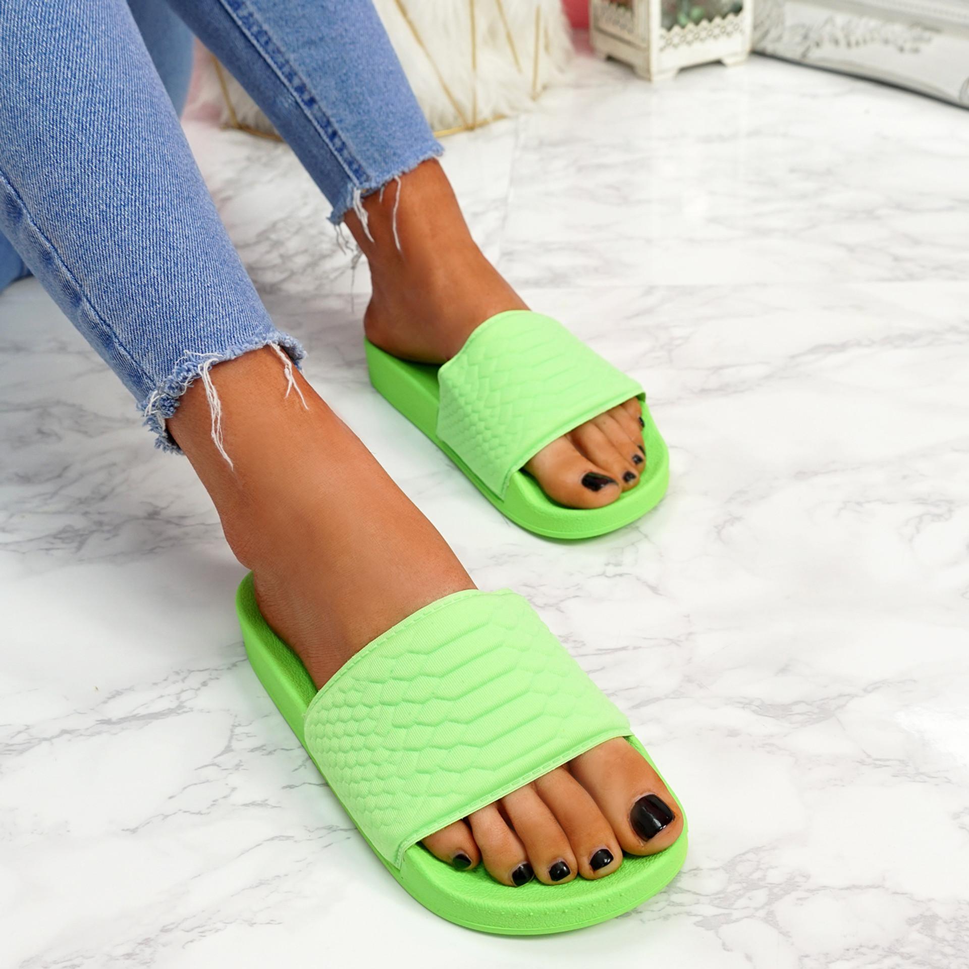 Eka Fluorescent Green Flat Sandals