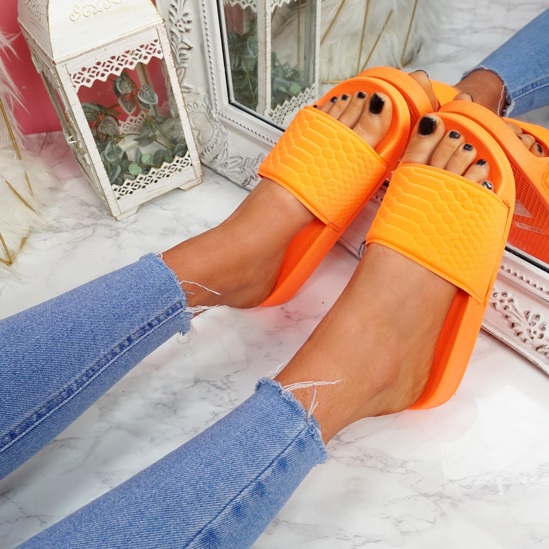 Eka Fluorescent Orange Flat Sandals