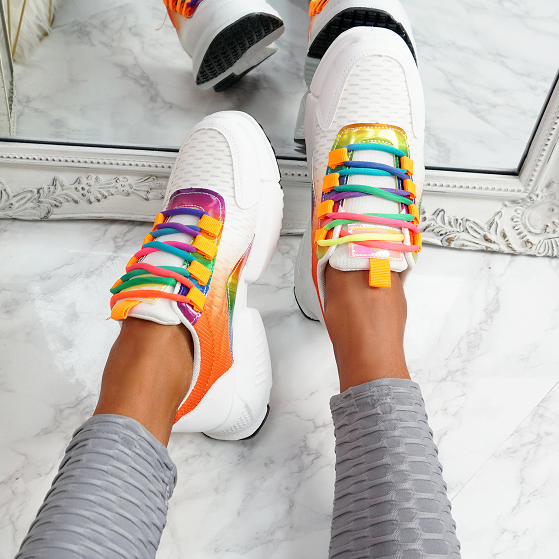 Potto Red Chunky Rainbow Trainers