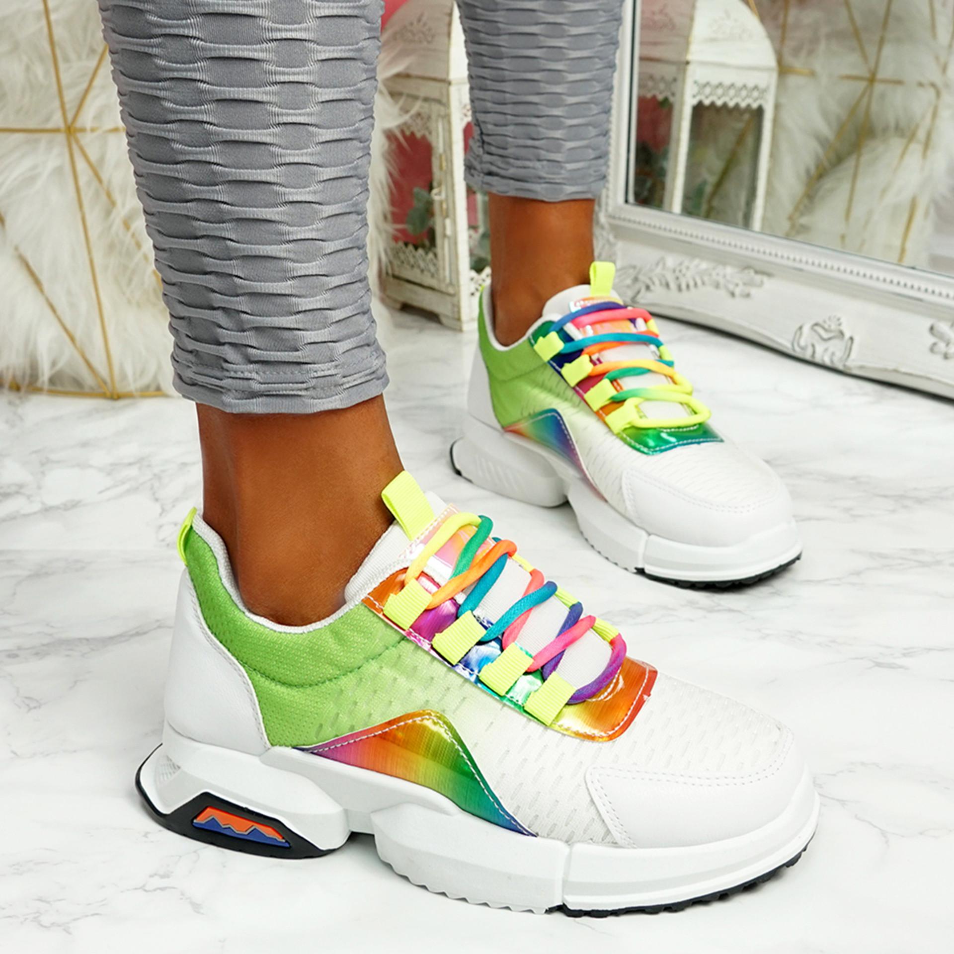 Potto Green Chunky Rainbow Trainers