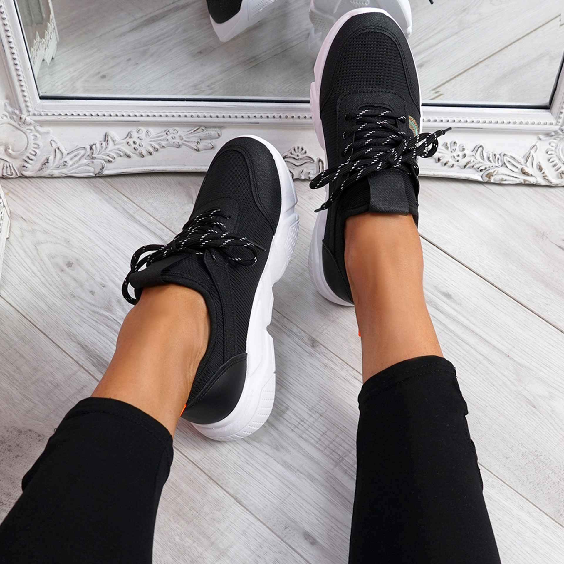 Rovy Black Chunky Trainers