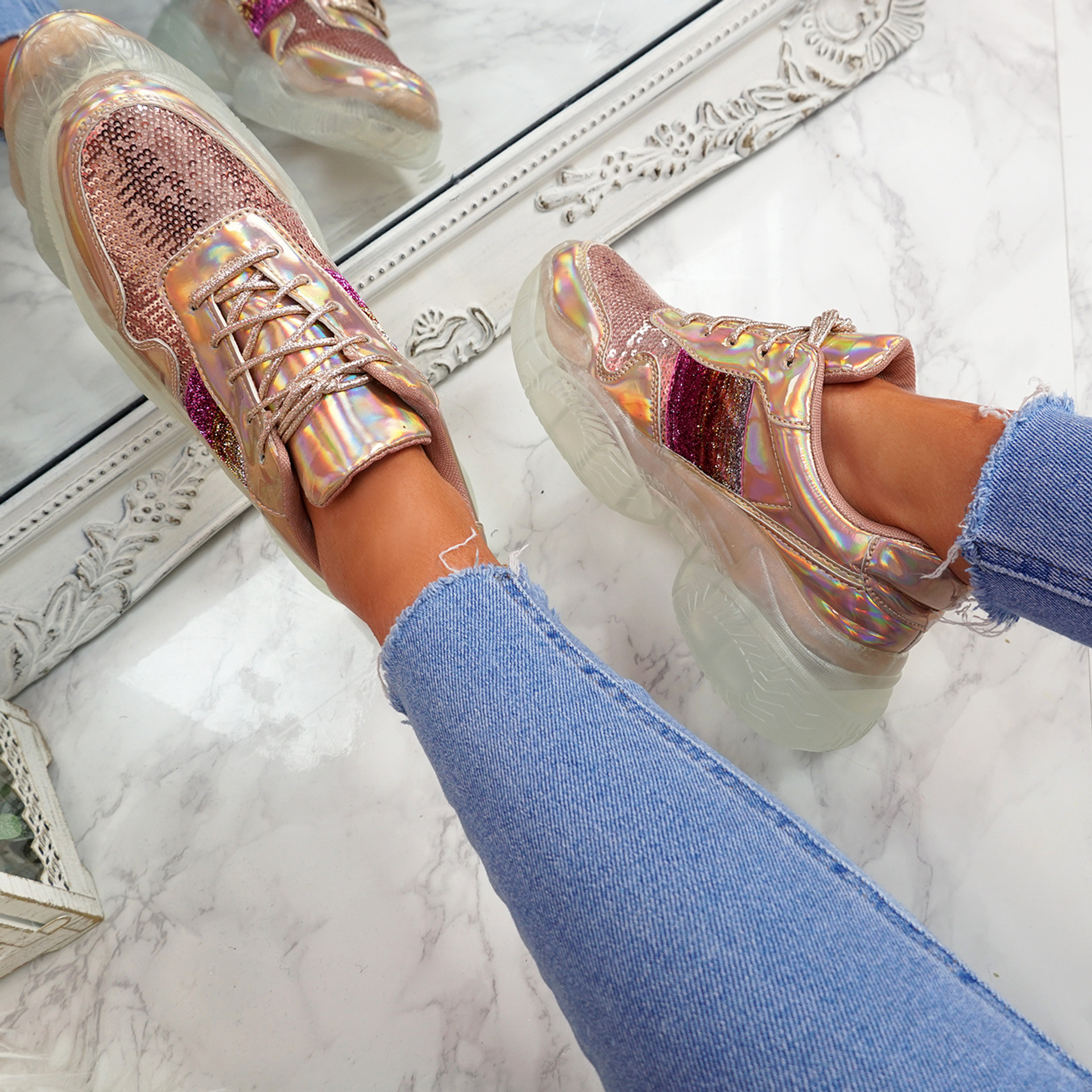 Lenny Champagne Chunky Trainers