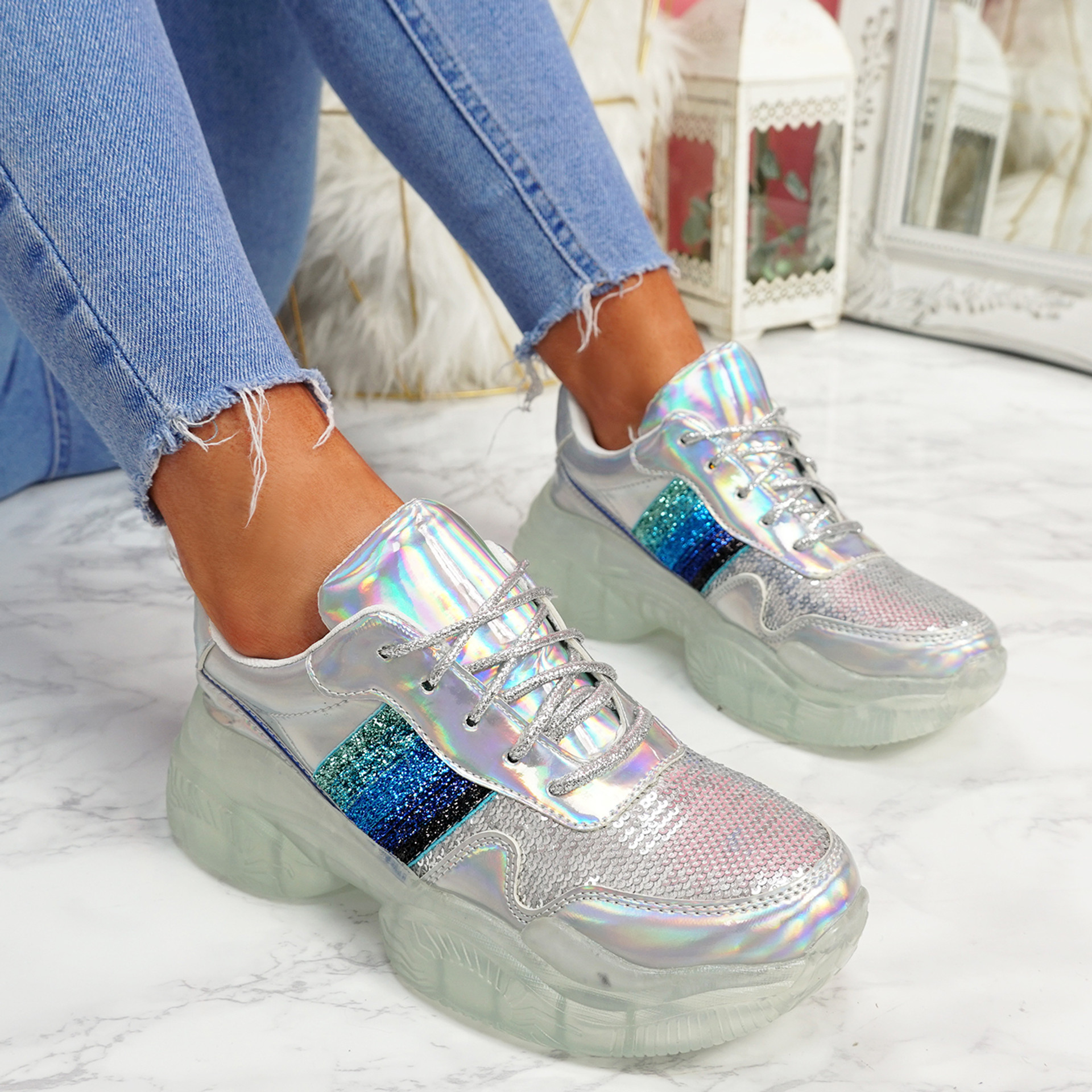 Lenny Silver Chunky Trainers