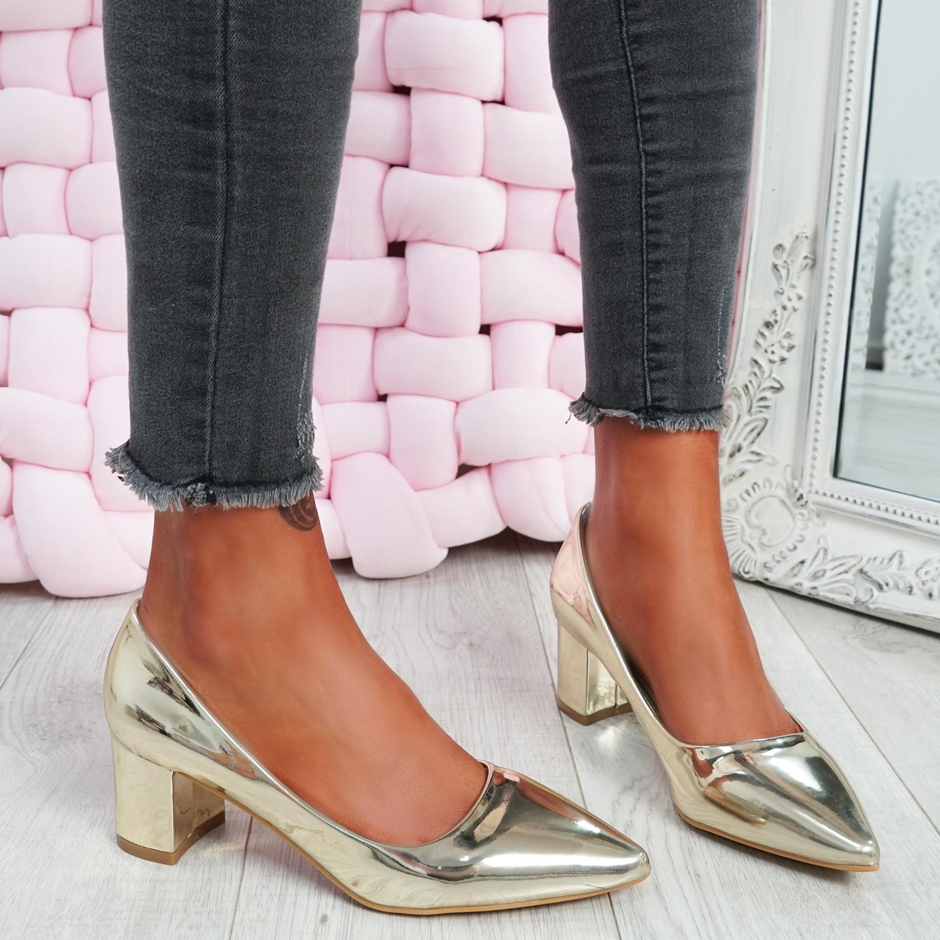 Nya Gold Block Heel Pumps