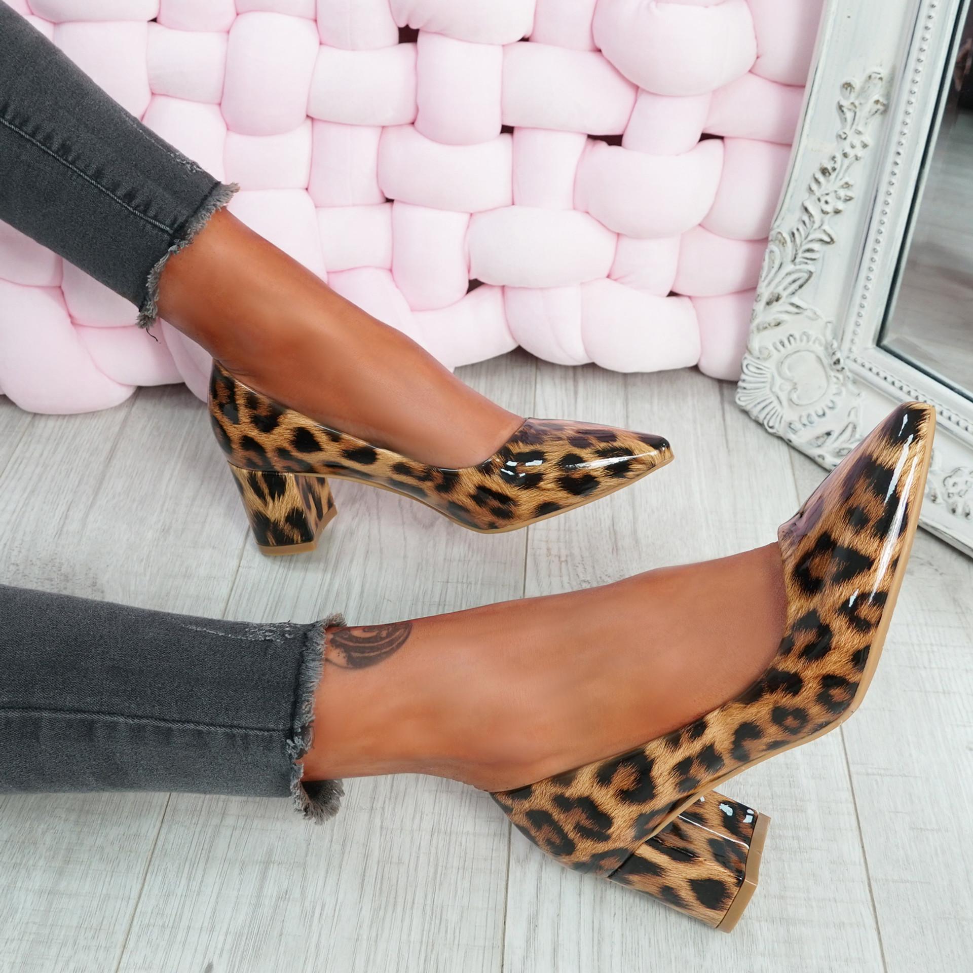 Nya Tiger Block Heel Pumps