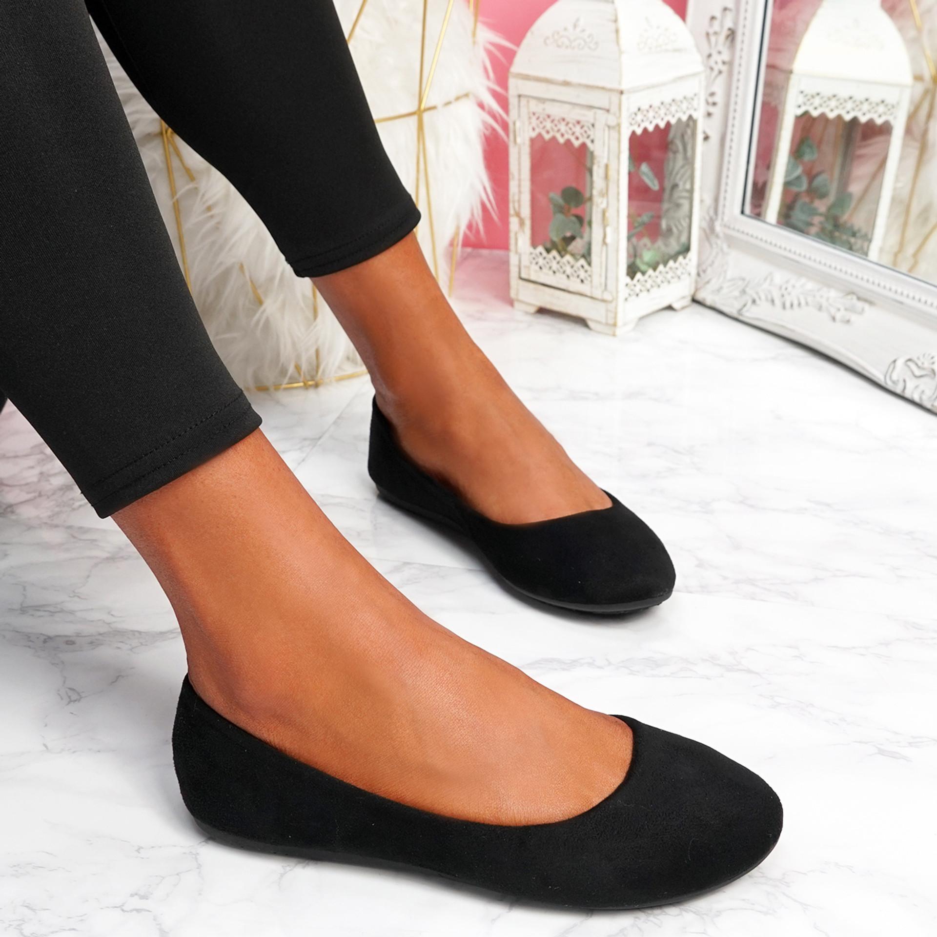 Evera Black Slip On Ballerinas