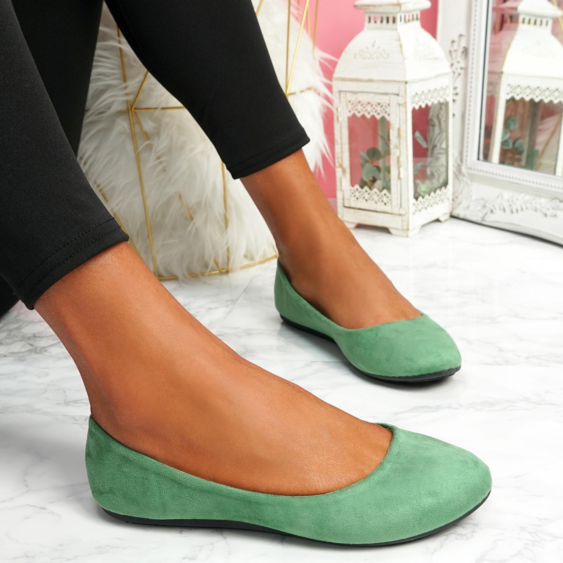 Evera Green Slip On Ballerinas