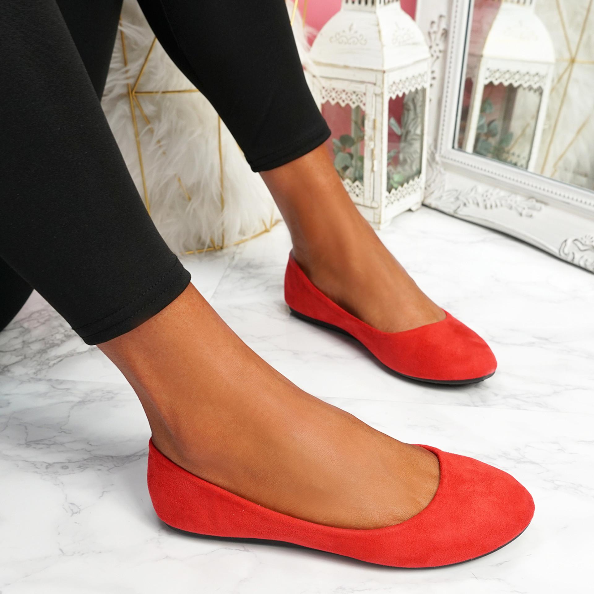 Evera Red Slip On Ballerinas