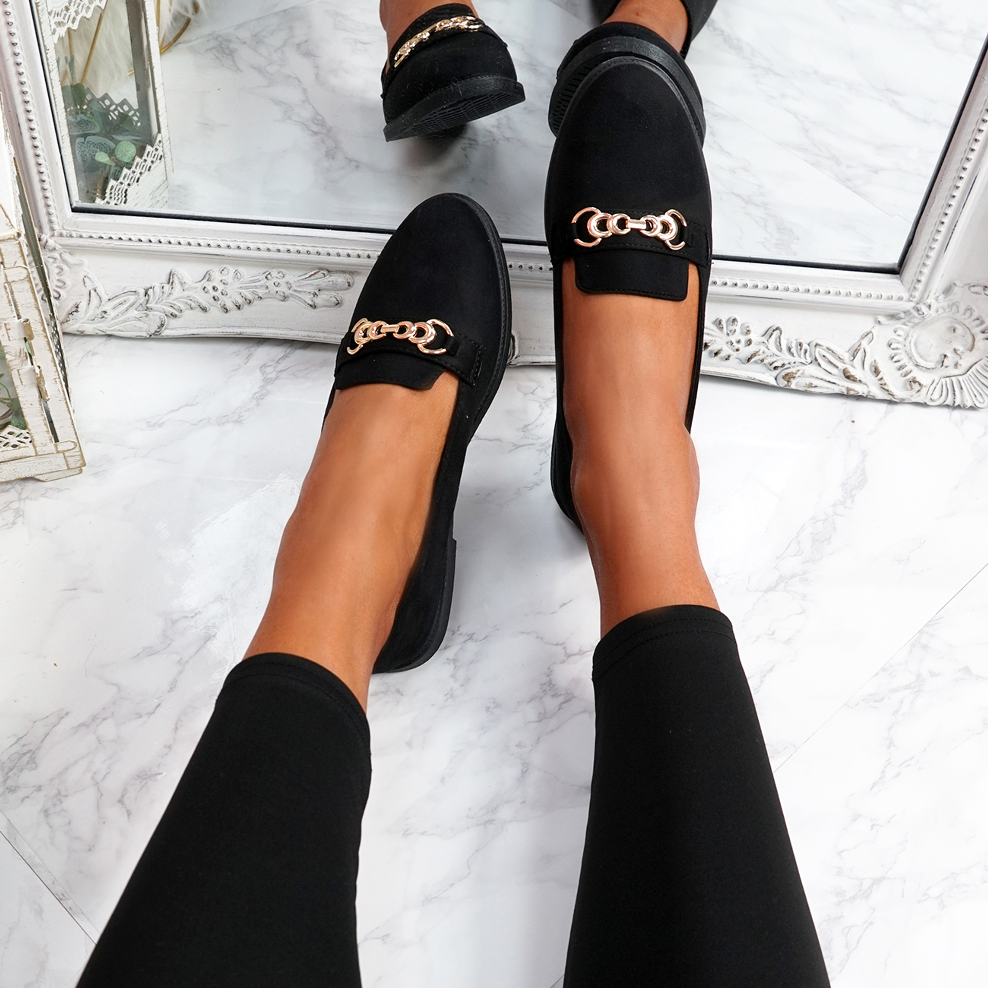 Lonna Black Chain Ballerinas