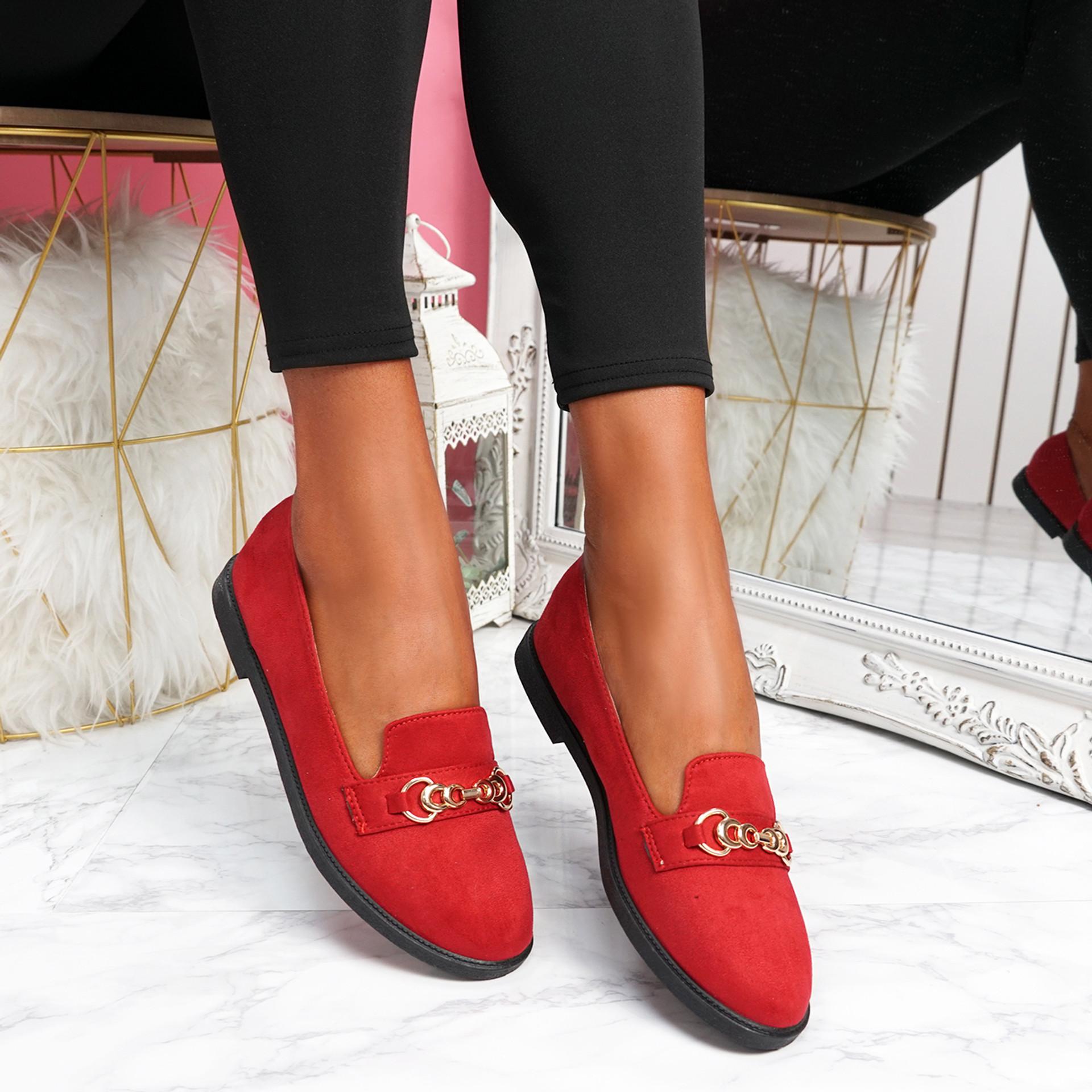 Lonna Red Chain Ballerinas